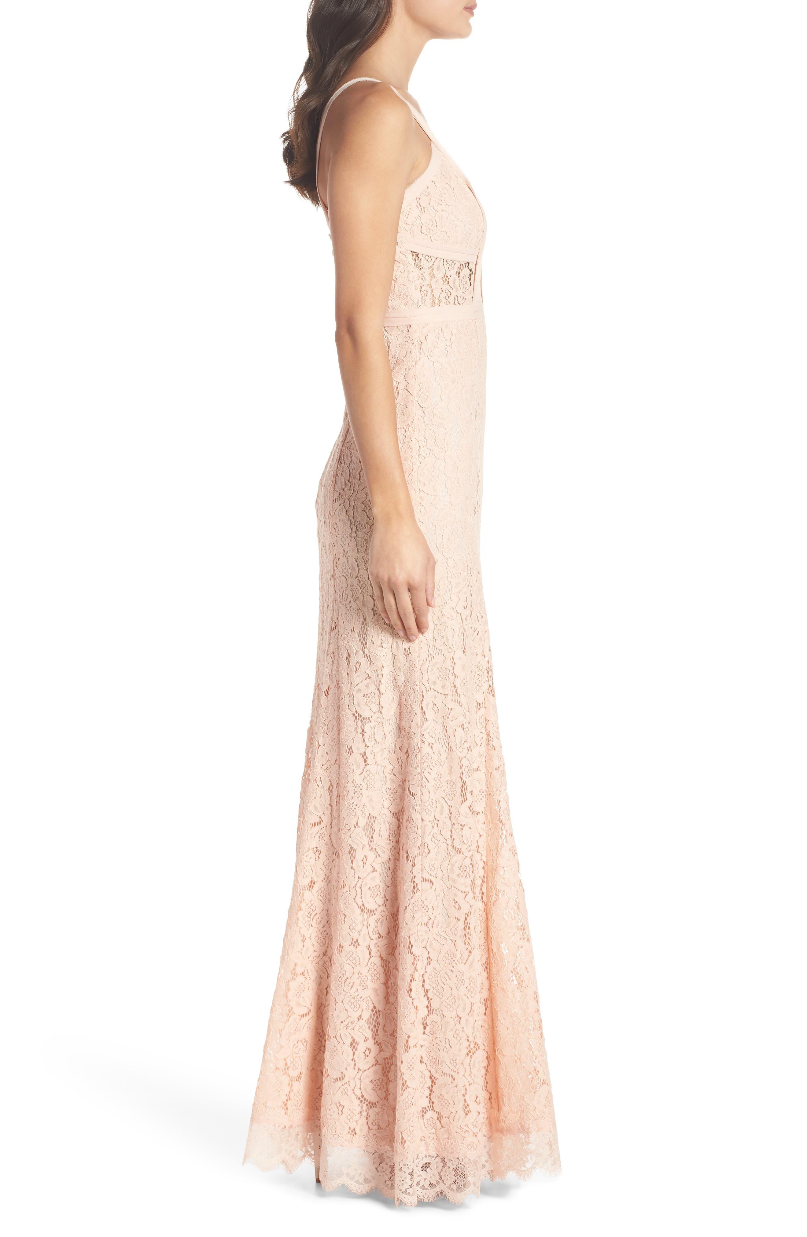 Esti Bustier Bodice Lace Gown,                             Alternate thumbnail 3, color,                             BLUSH
