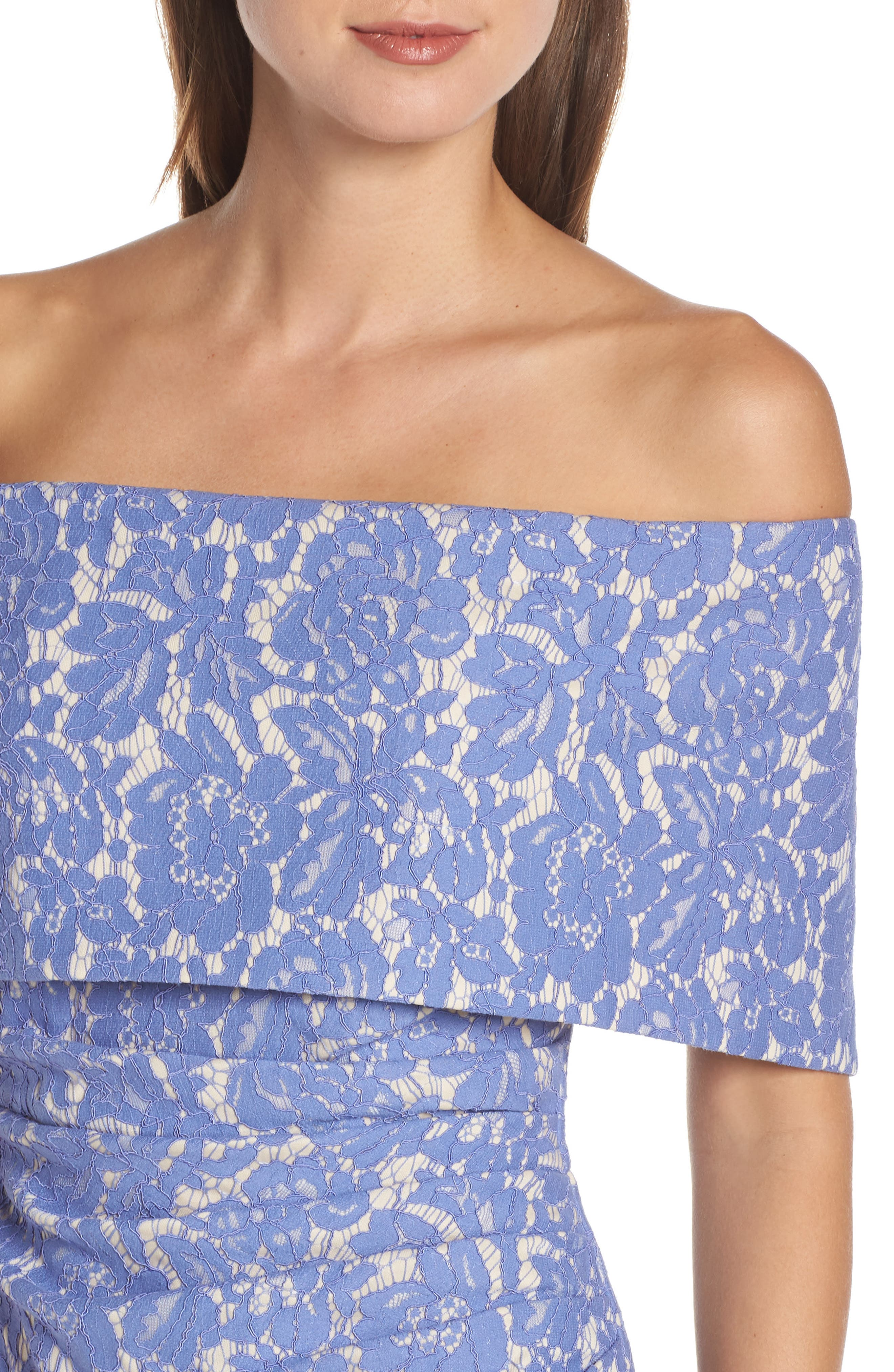 VINCE CAMUTO,                             Off the Shoulder Lace Sheath Dress,                             Alternate thumbnail 4, color,                             PERIWINKLE