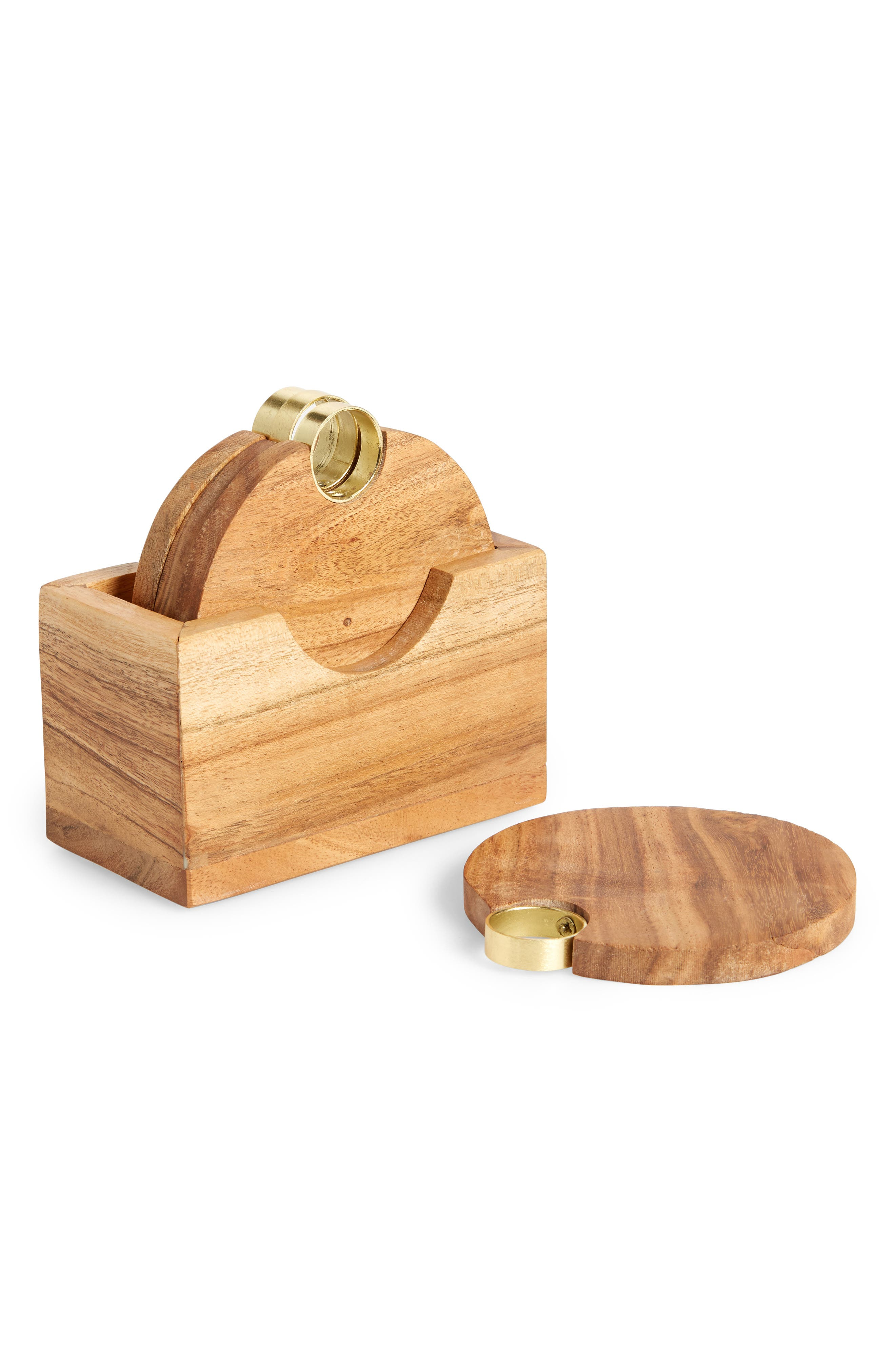 5-Piece Acacia Wood Coaster Set,                             Main thumbnail 1, color,                             GOLD METALLIC