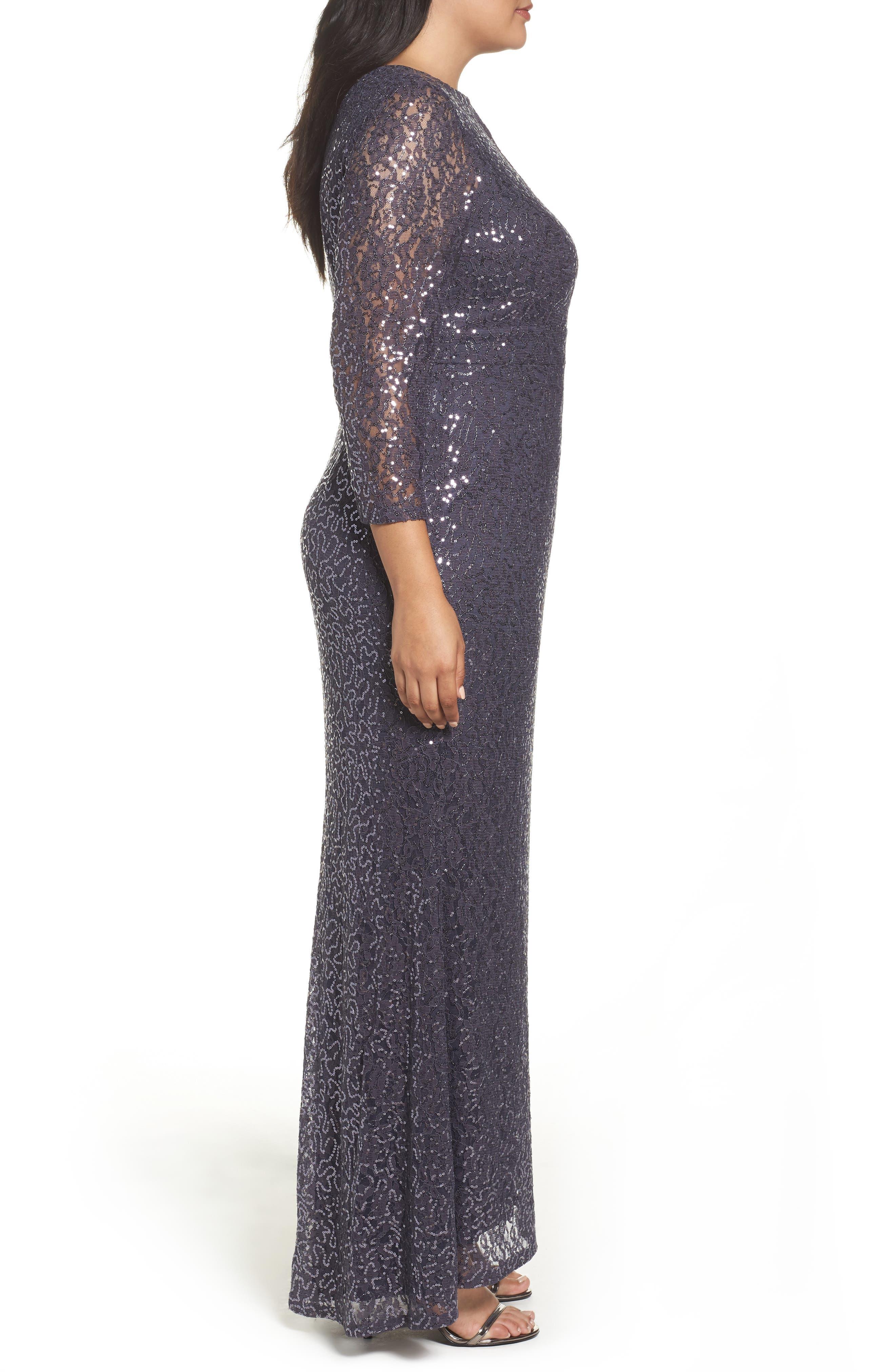 Sequin Lace A-Line Gown,                             Alternate thumbnail 3, color,                             GUNMETAL