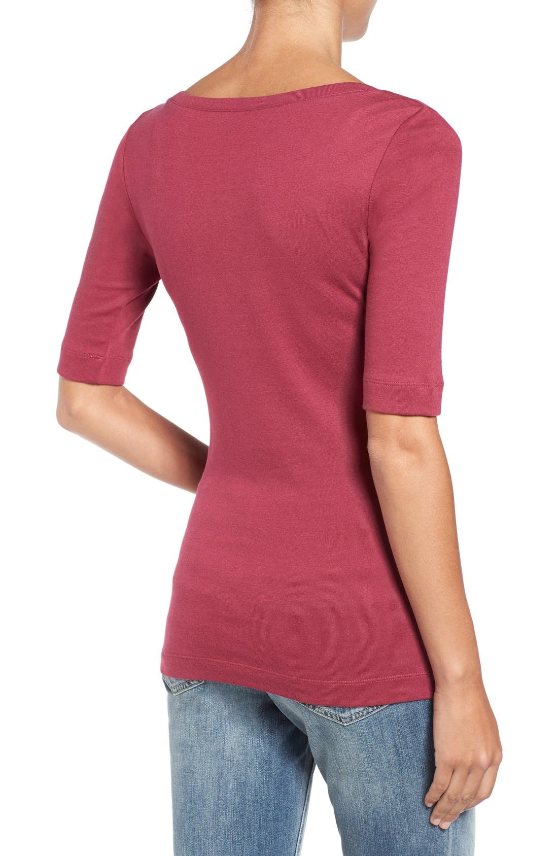 Ballet Neck Cotton & Modal Knit Elbow Sleeve Tee,                             Alternate thumbnail 215, color,