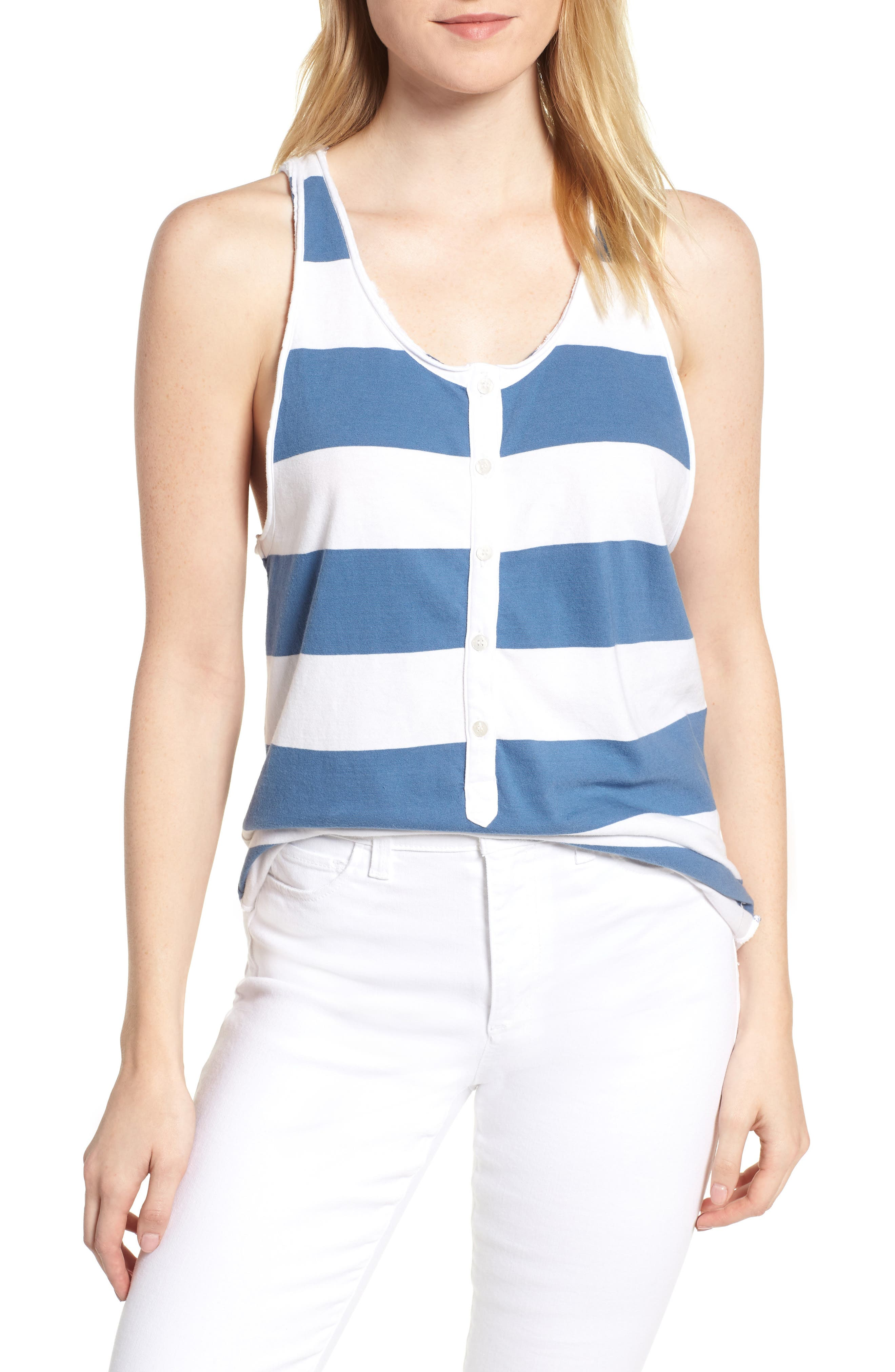 Rugby Stripe Tank,                         Main,                         color, WHITE/ BLUE