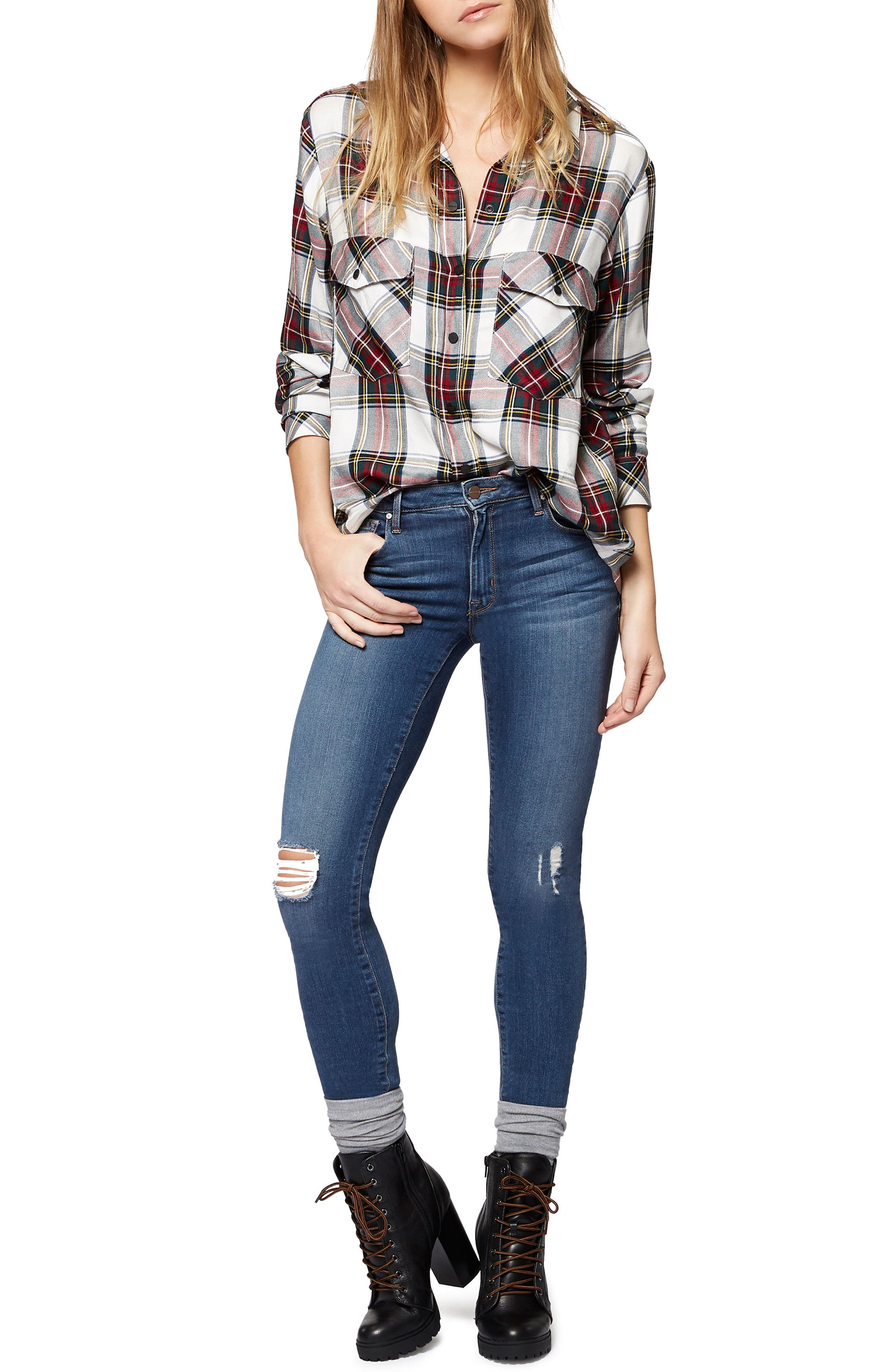 Robbie High Waist Skinny Jeans,                             Alternate thumbnail 4, color,                             421
