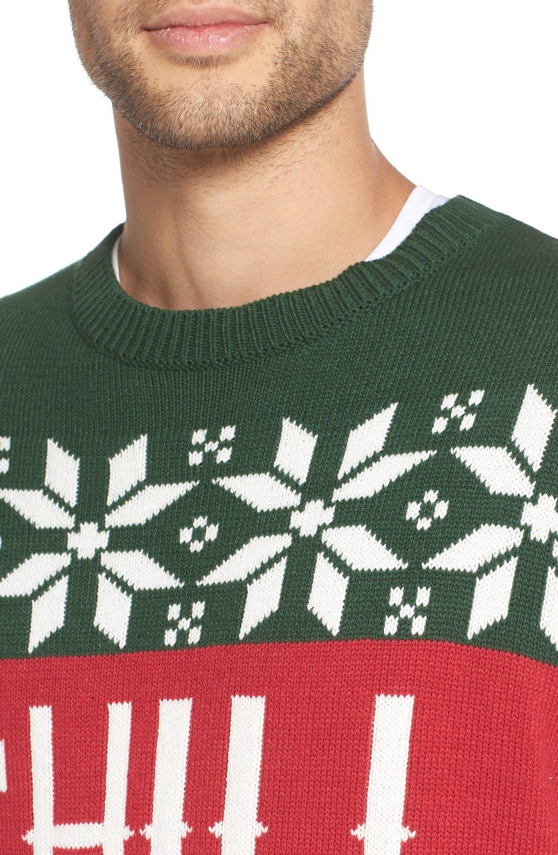 'Chill Vibes' Intarsia Crewneck Sweater,                             Alternate thumbnail 4, color,                             641