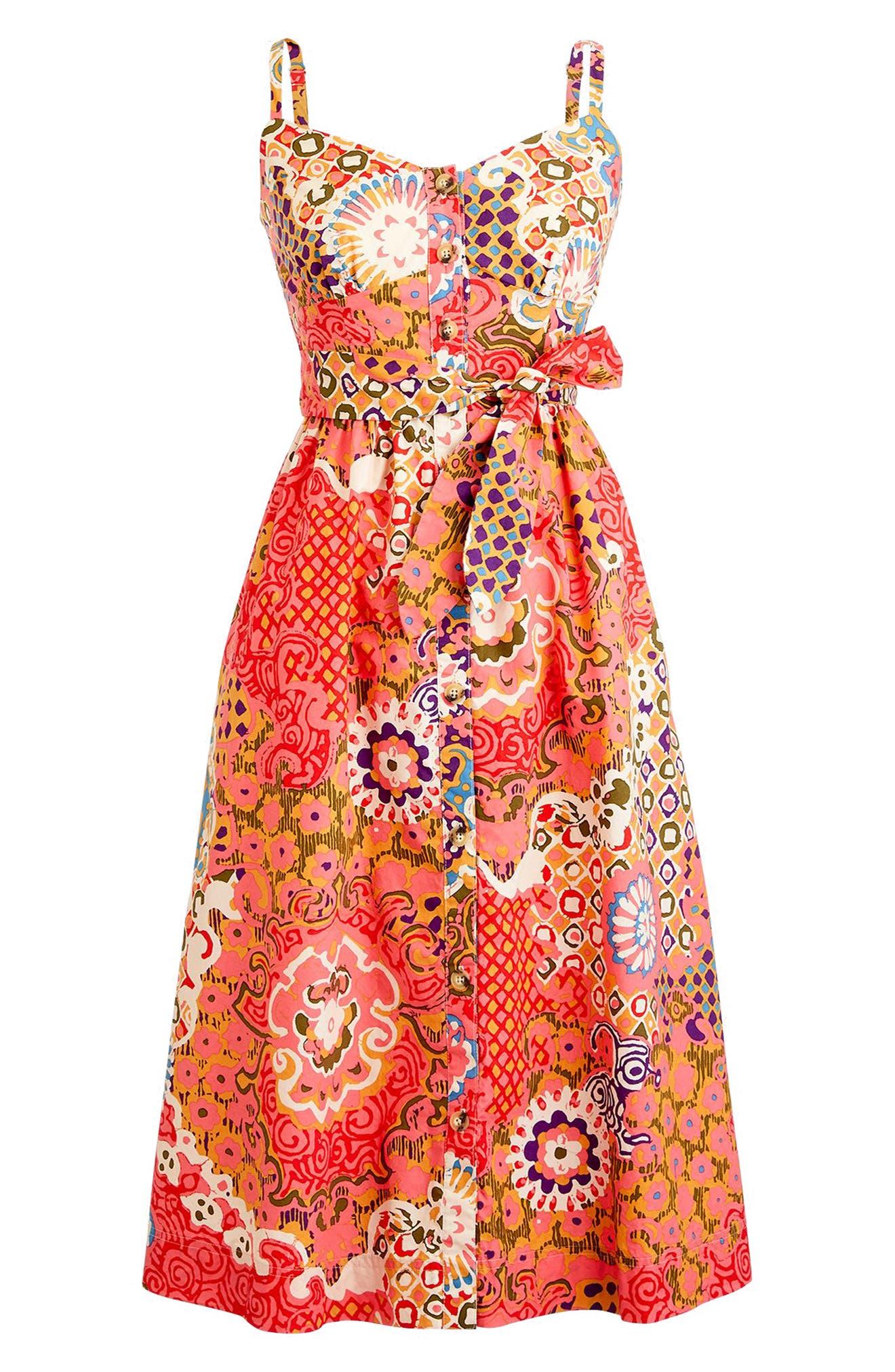 Classic Button Front Poplin Sundress,                             Alternate thumbnail 4, color,                             VIBRANT ROSE