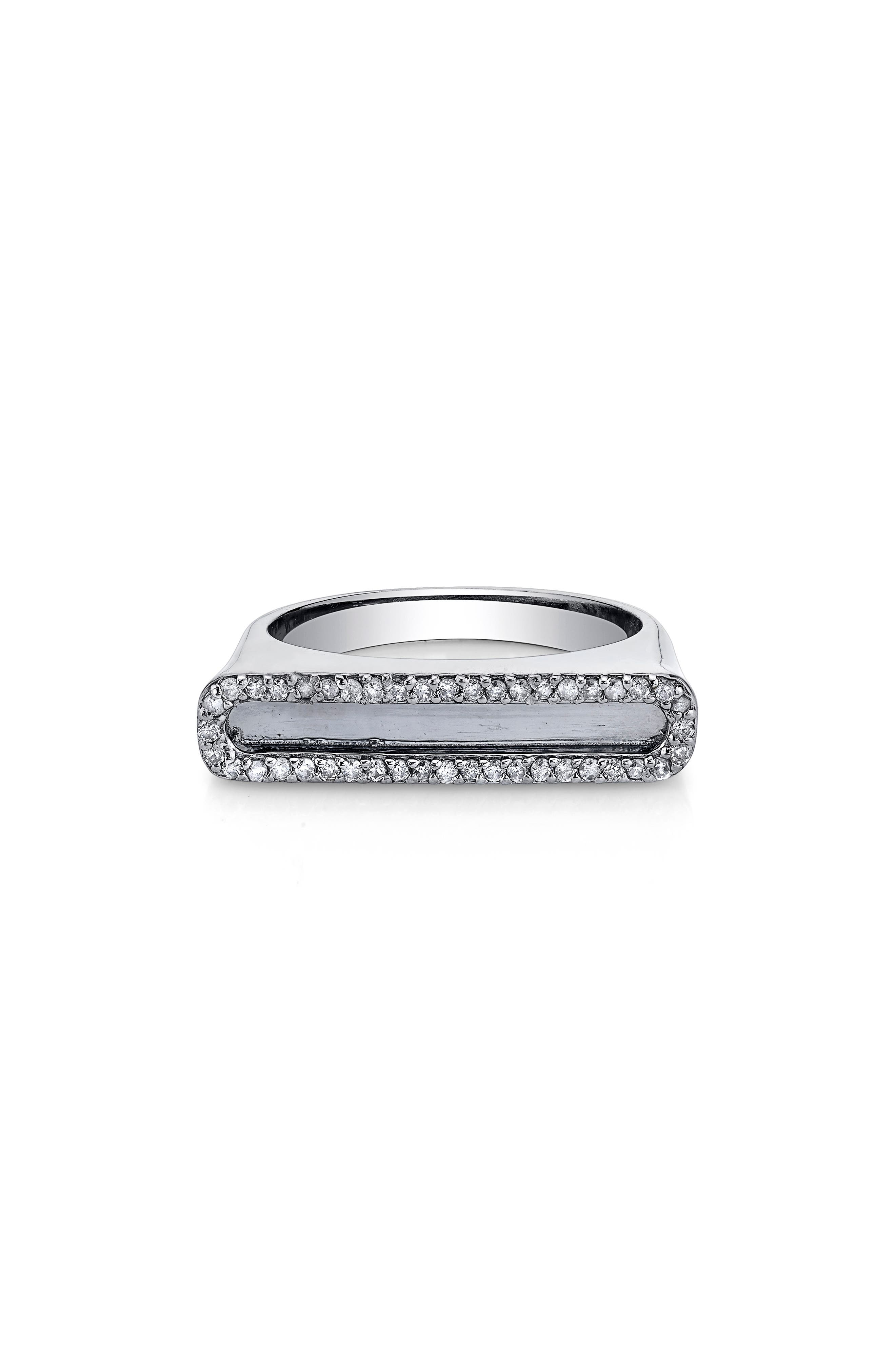 Pave Diamond Frame Bar Ring in Sterling Silver