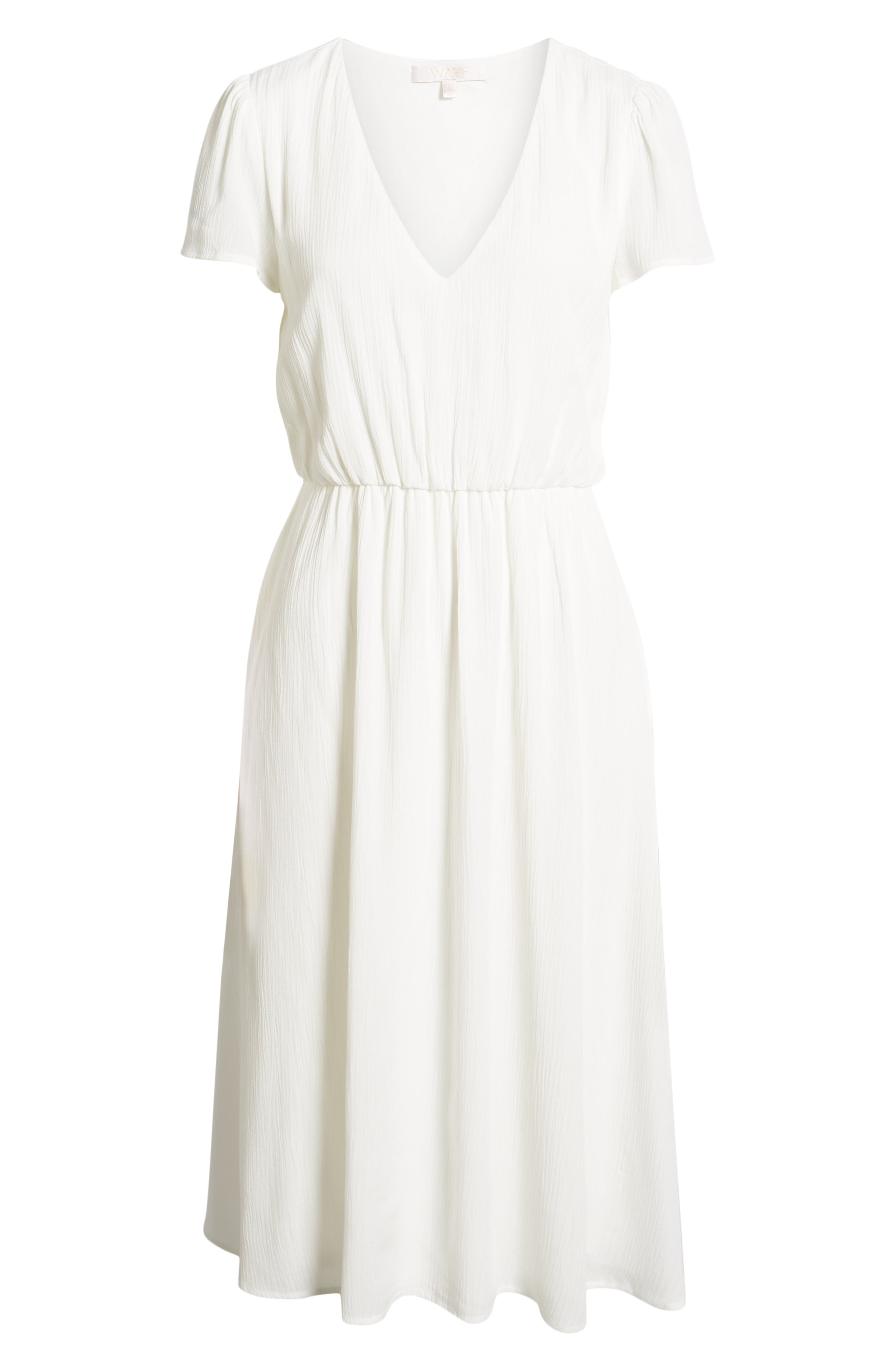 WAYF,                             Blouson Midi Dress,                             Alternate thumbnail 7, color,                             WHITE
