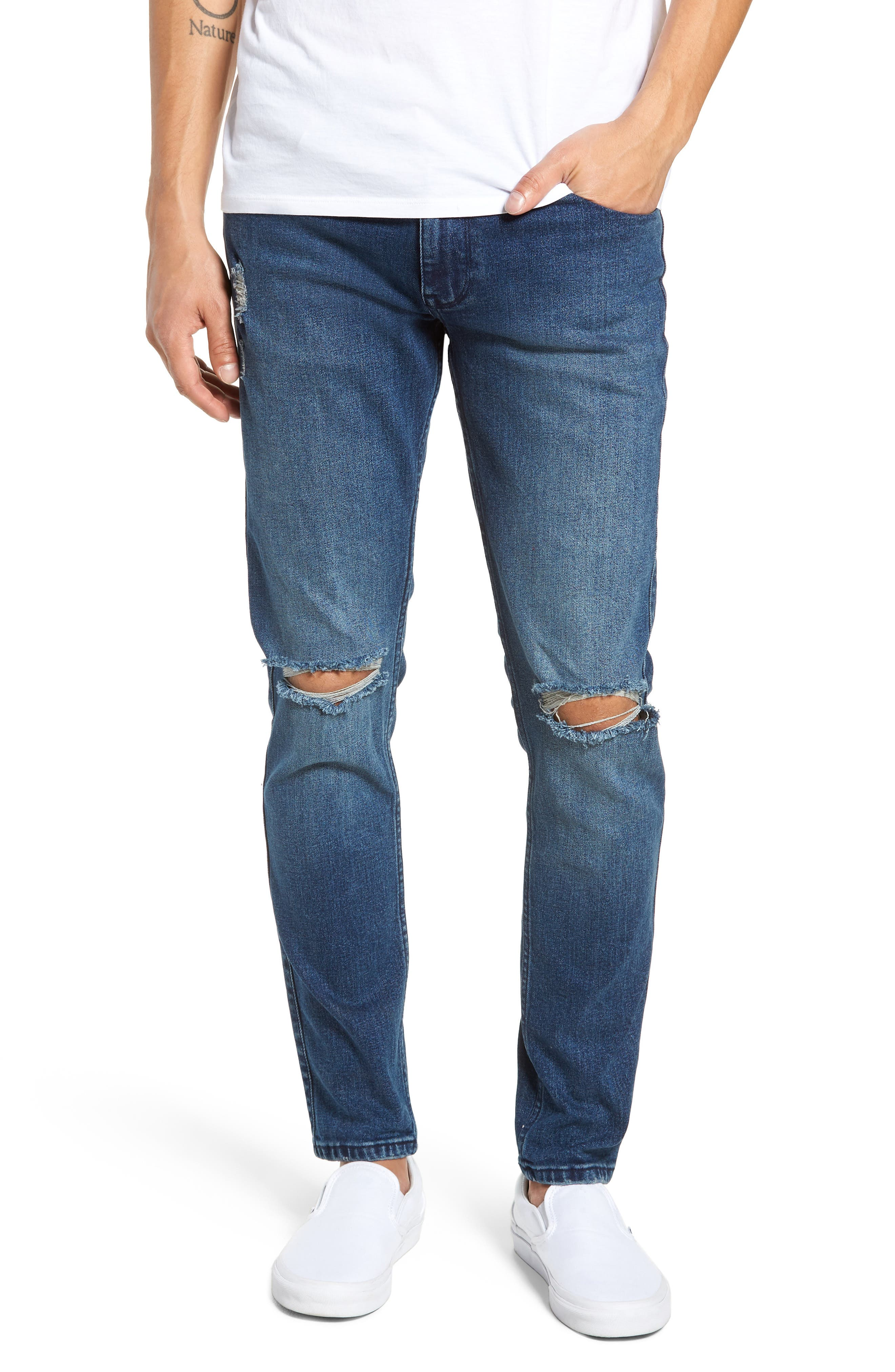 Clark Slim Straight Leg Jeans,                             Main thumbnail 1, color,                             WORN ASH BLUE DAMAGED