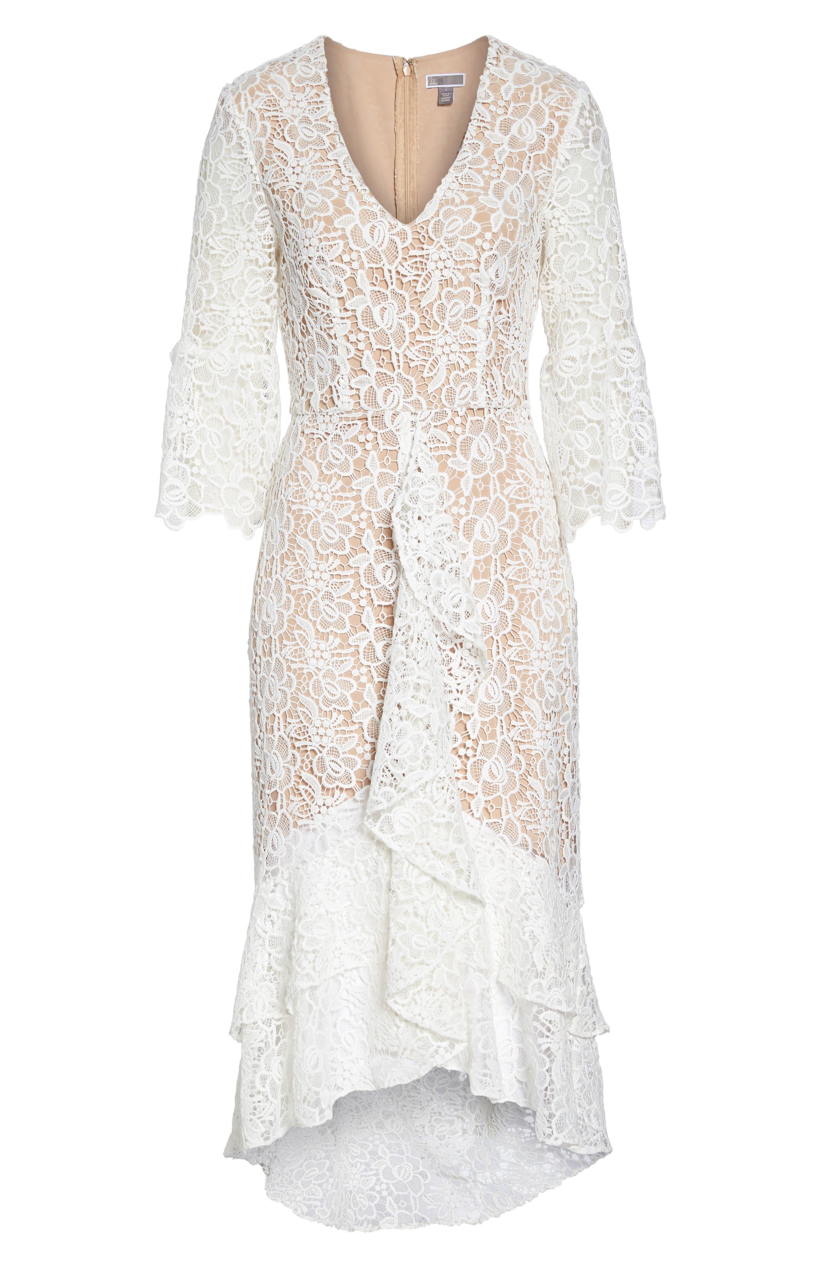 Ruffle Lace Midi Dress,                             Alternate thumbnail 6, color,                             100