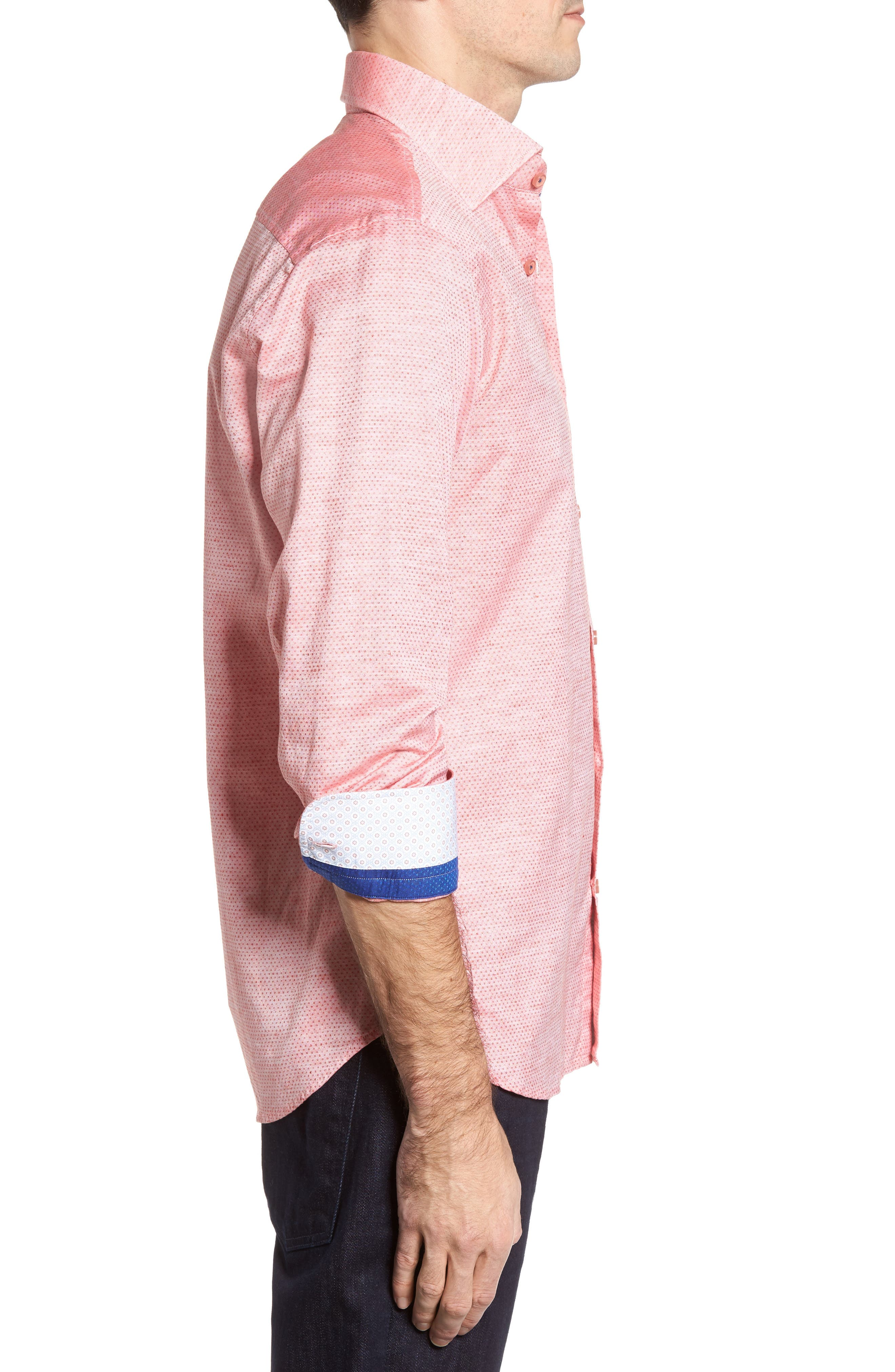 Dobby Cotton & Linen Sport Shirt,                             Alternate thumbnail 12, color,