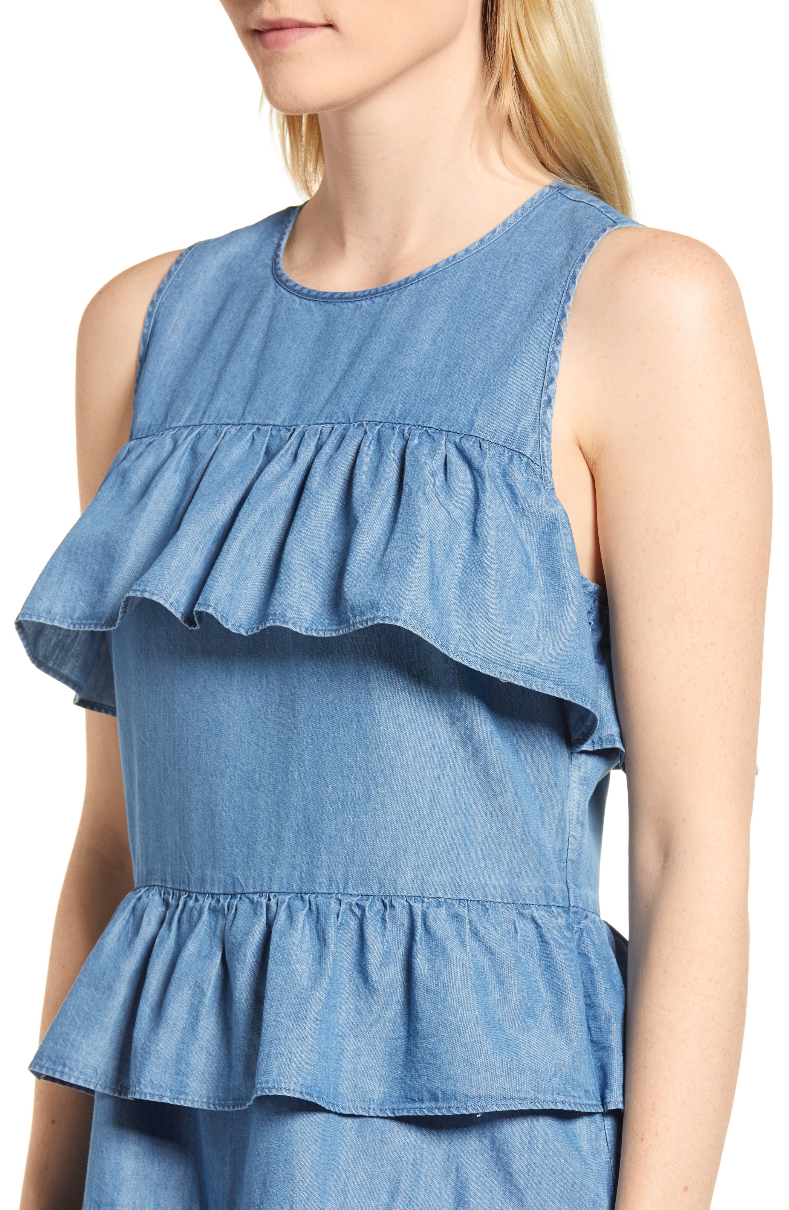 Chambray Flounce Dress,                             Alternate thumbnail 4, color,                             401