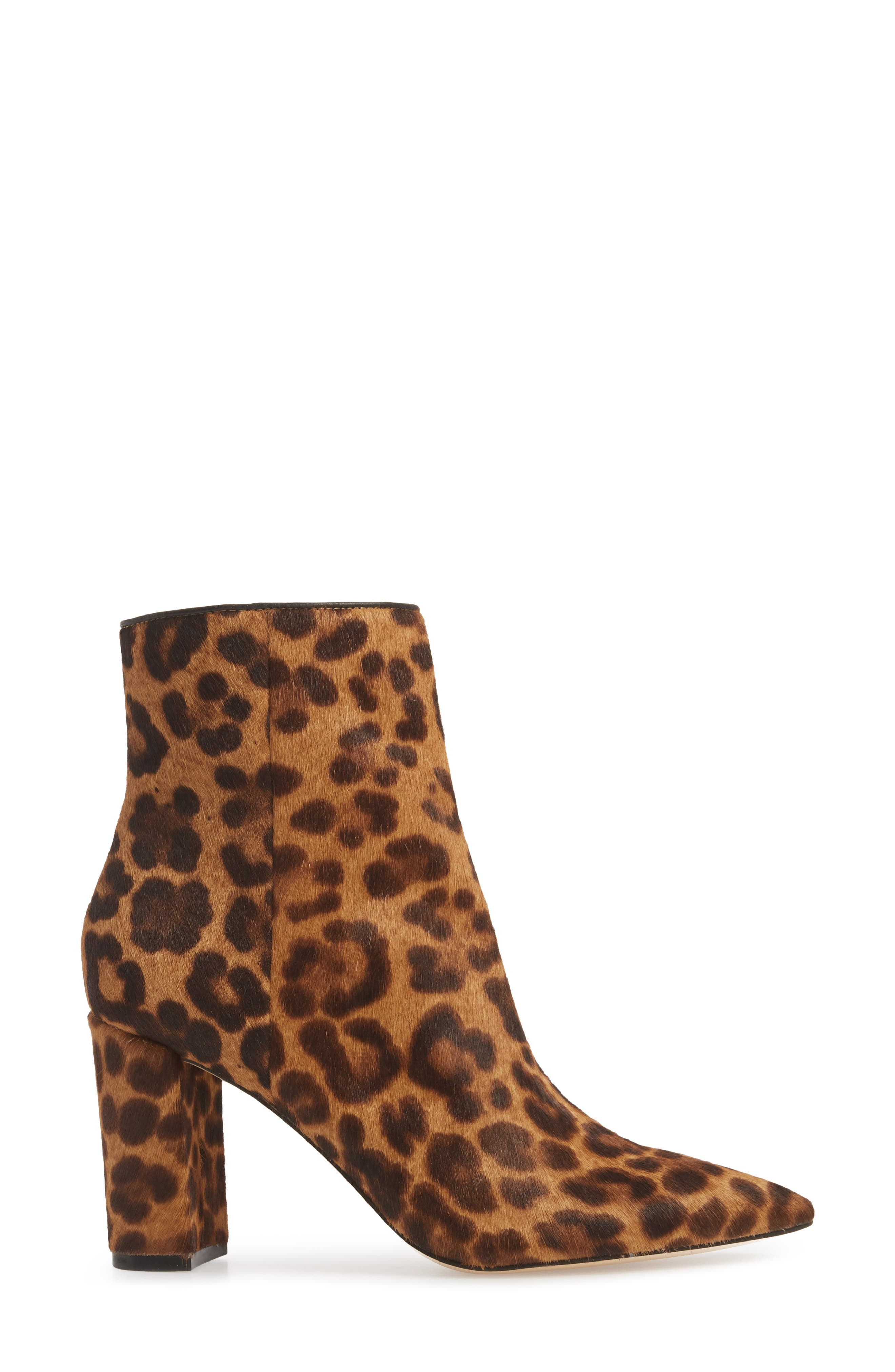 Ulanily Pointy Toe Bootie,                             Alternate thumbnail 3, color,                             LEOPARD CALF HAIR