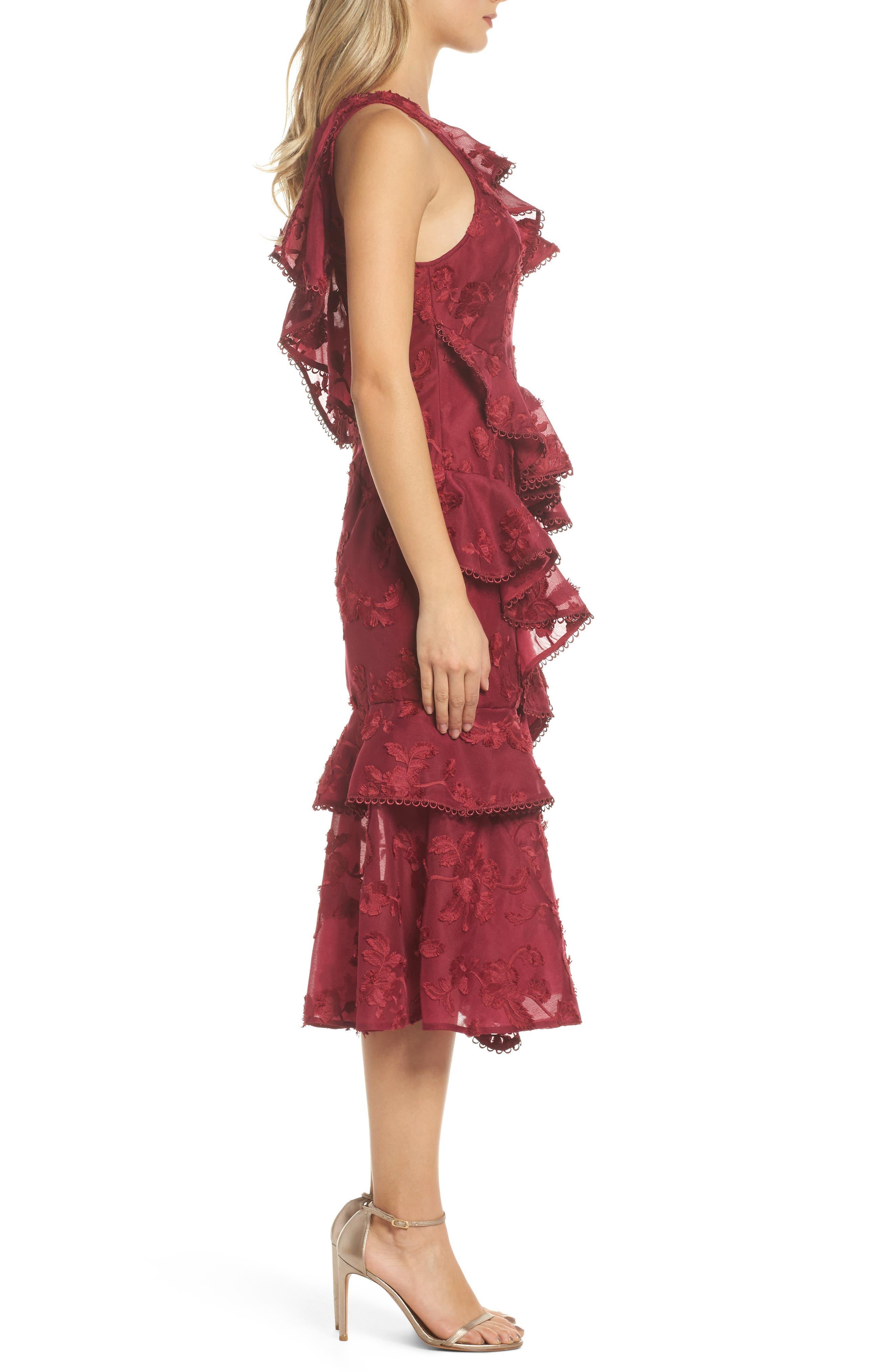 Shine Ruffle Lace Tea Length Dress,                             Alternate thumbnail 3, color,                             621