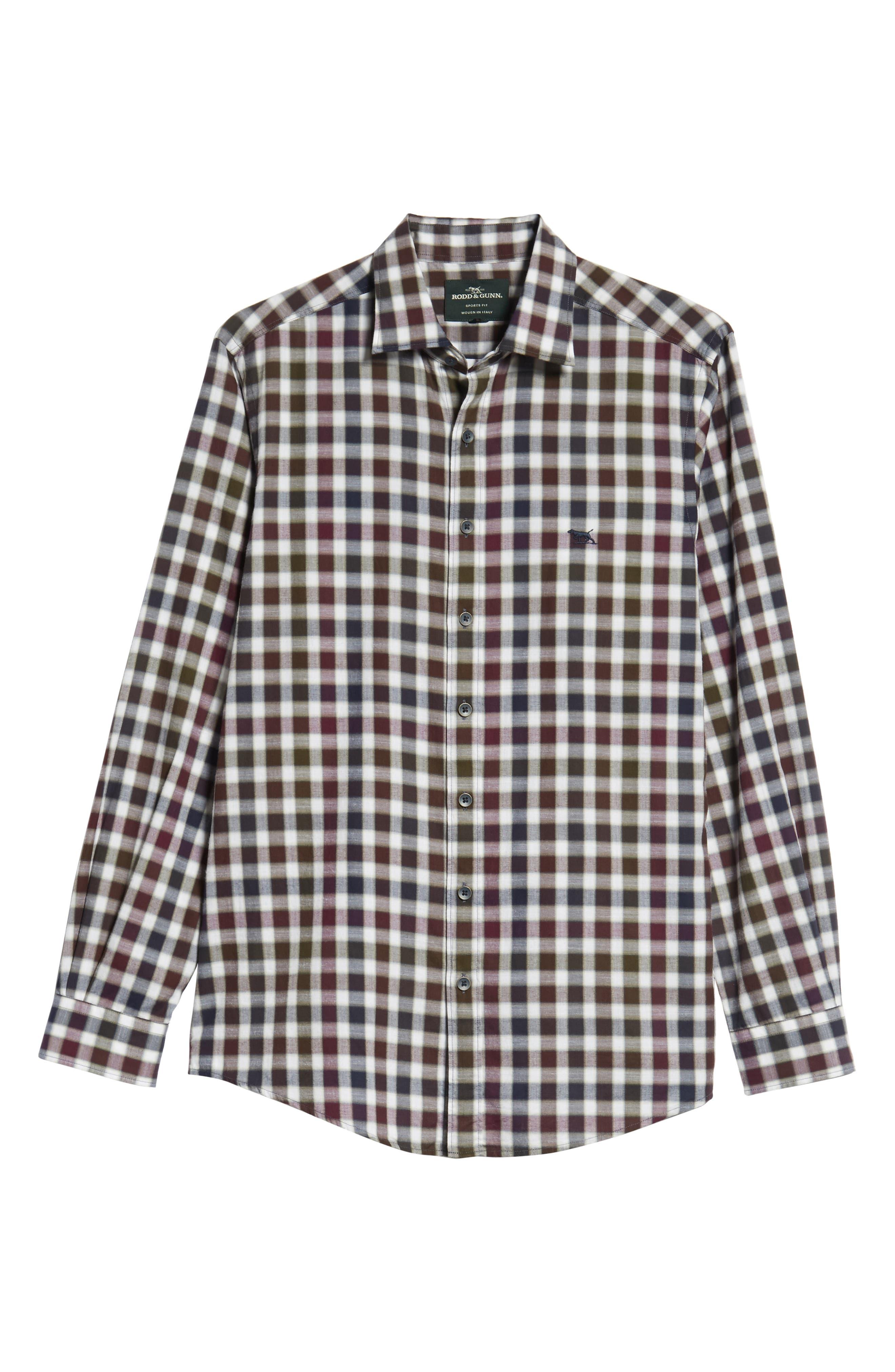 Harvest Ave Sports Fit Flannel Sport Shirt,                             Alternate thumbnail 5, color,                             PORT