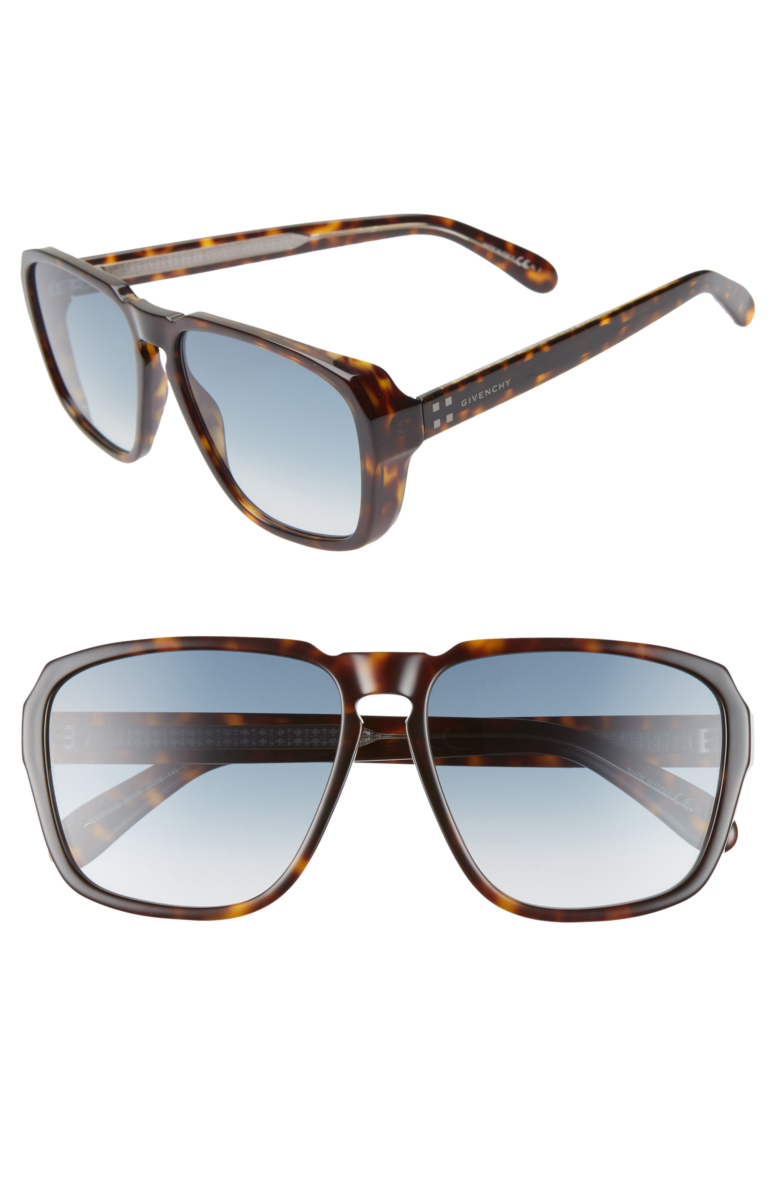 60mm Flat Top Sunglasses, Main, color, DARK HAVANA