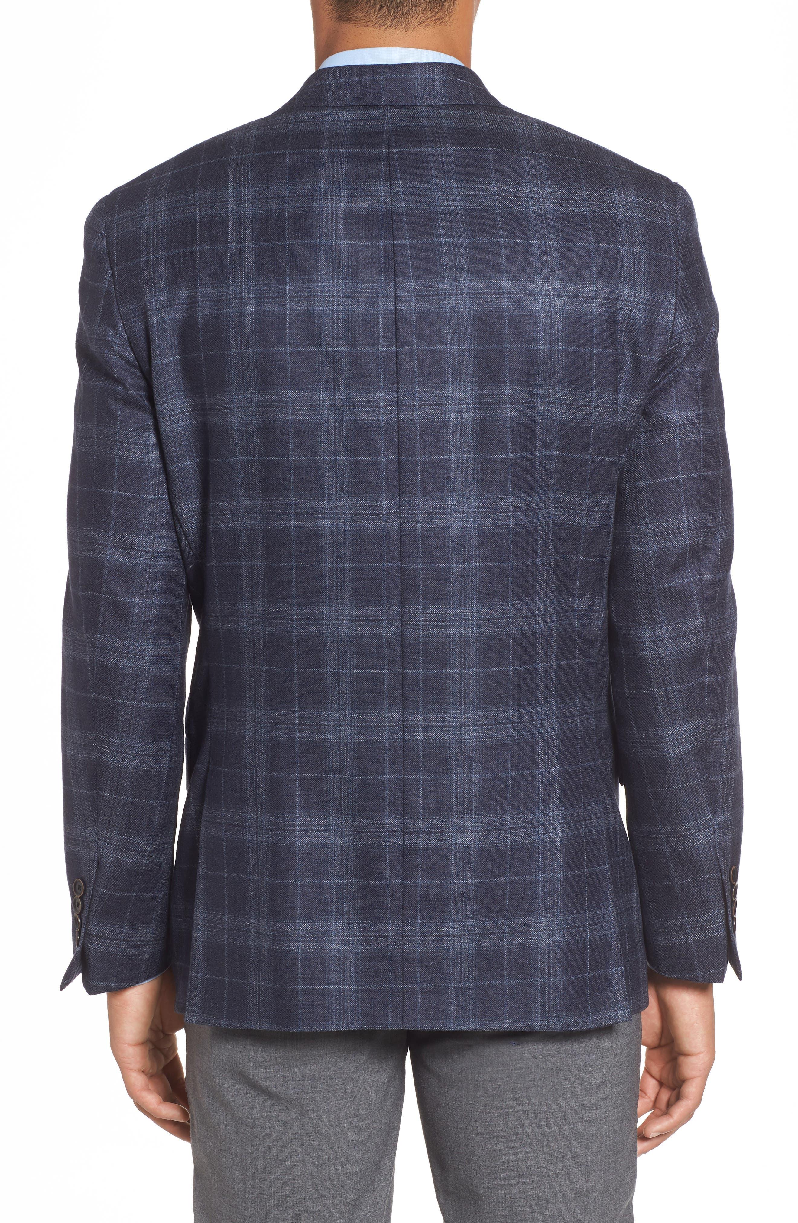 Classic Fit Plaid Wool & Silk Sport Coat,                             Alternate thumbnail 2, color,                             NAVY