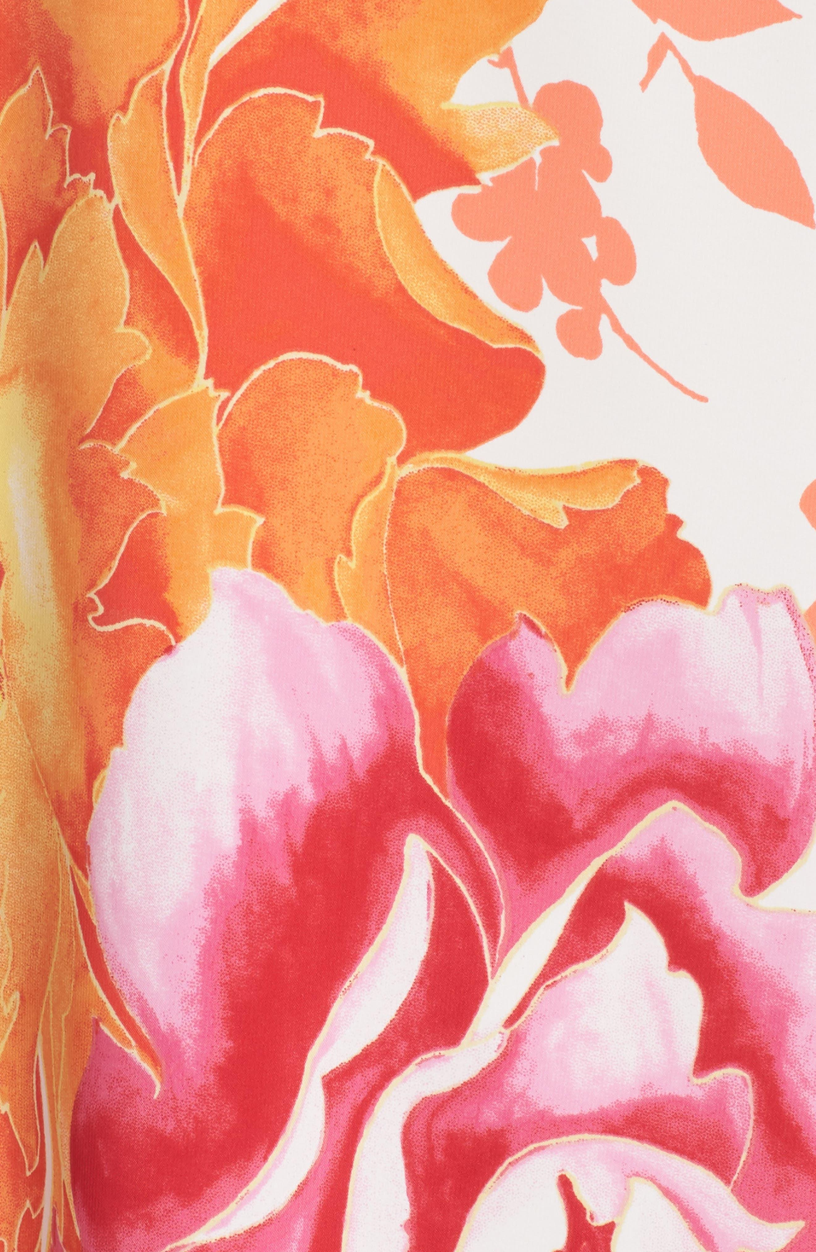 Bali Floral Print Satin Caftan,                             Alternate thumbnail 5, color,                             105
