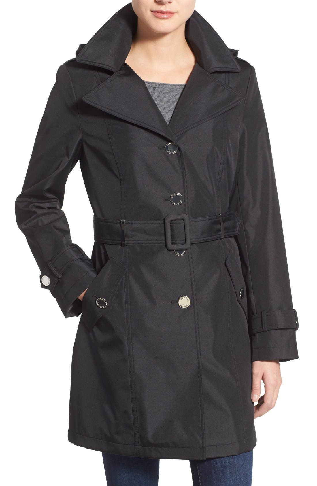 Single Breasted Belted Trench Coat, Main, color, 001
