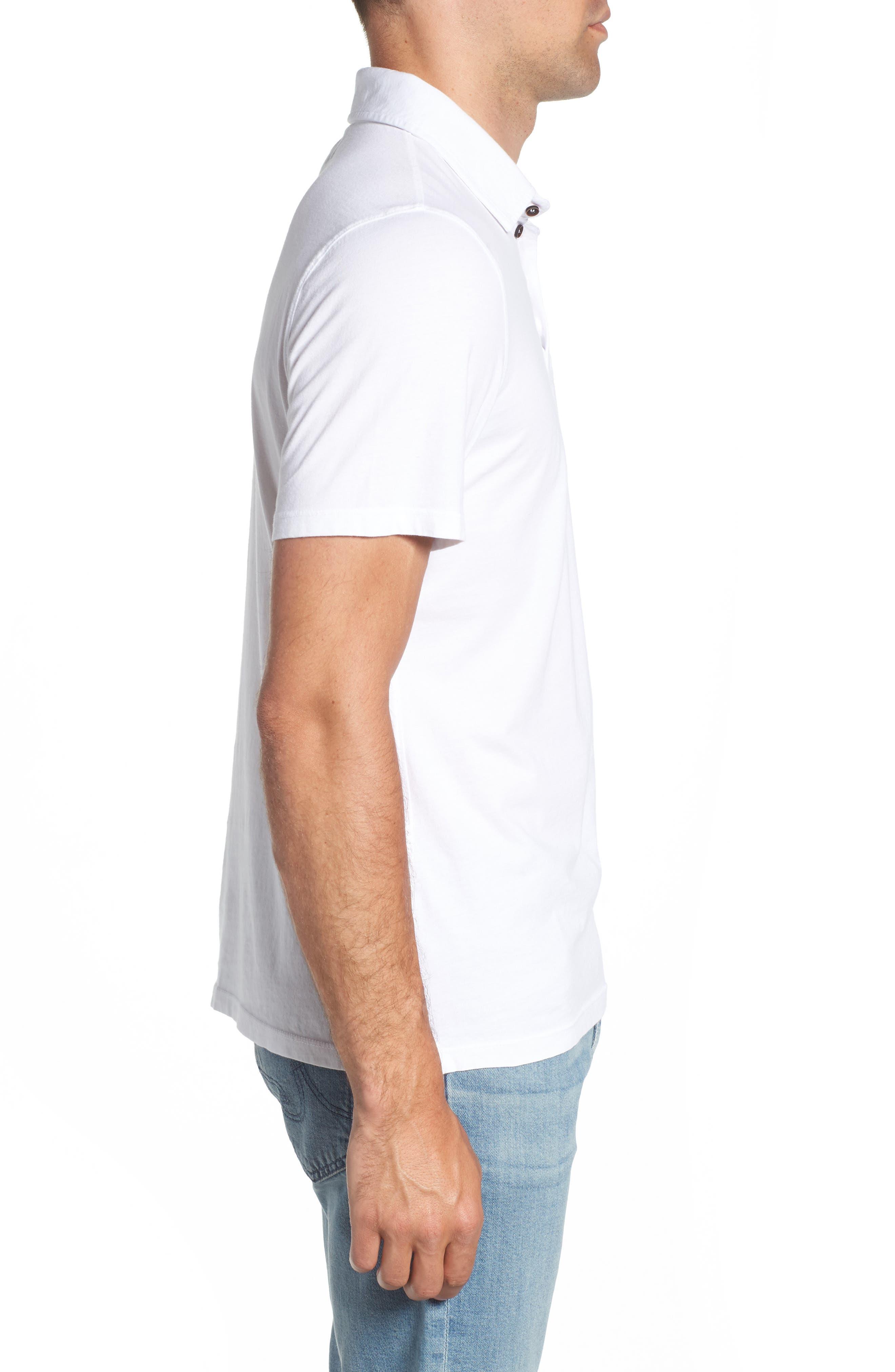 M.SINGER,                             Regular Fit Pocket Polo,                             Alternate thumbnail 3, color,                             WHITE