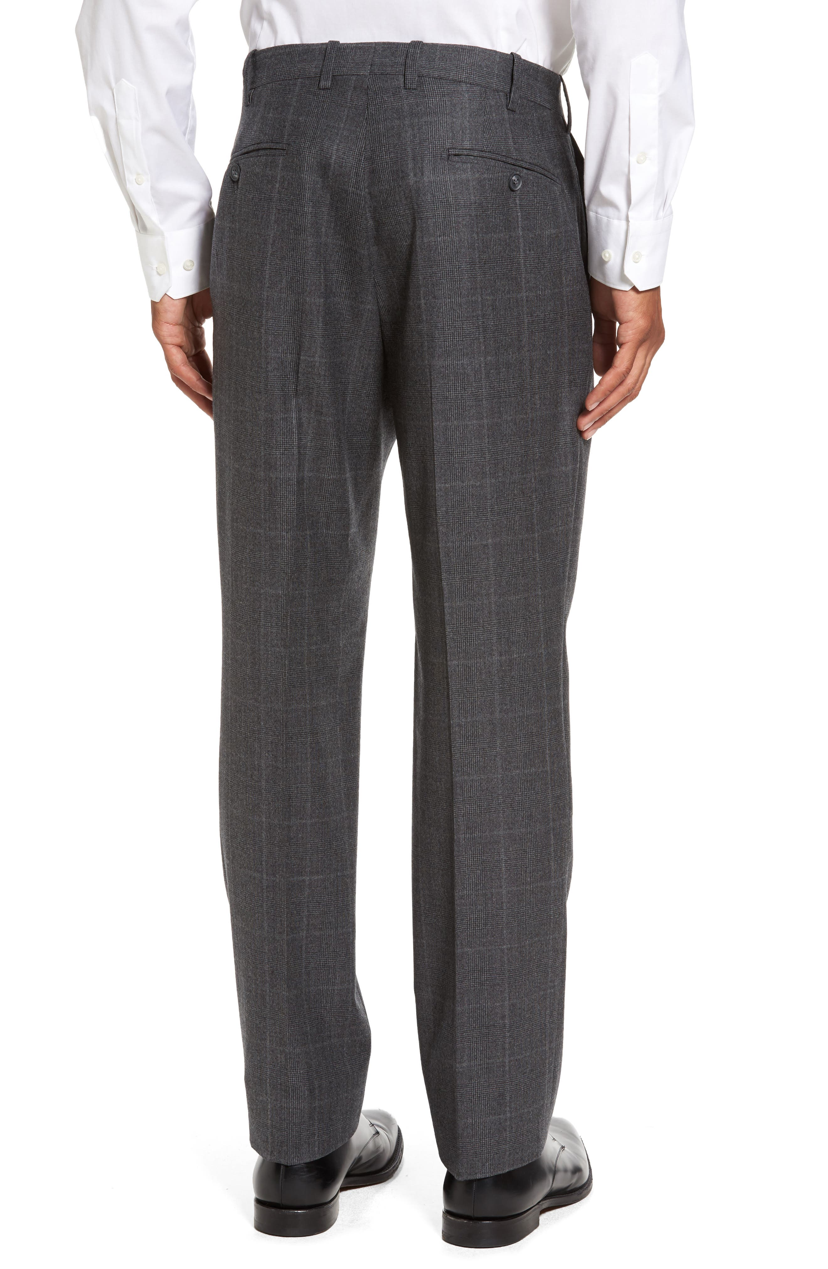 Flat Front Plaid Wool Trousers,                             Alternate thumbnail 3, color,                             032