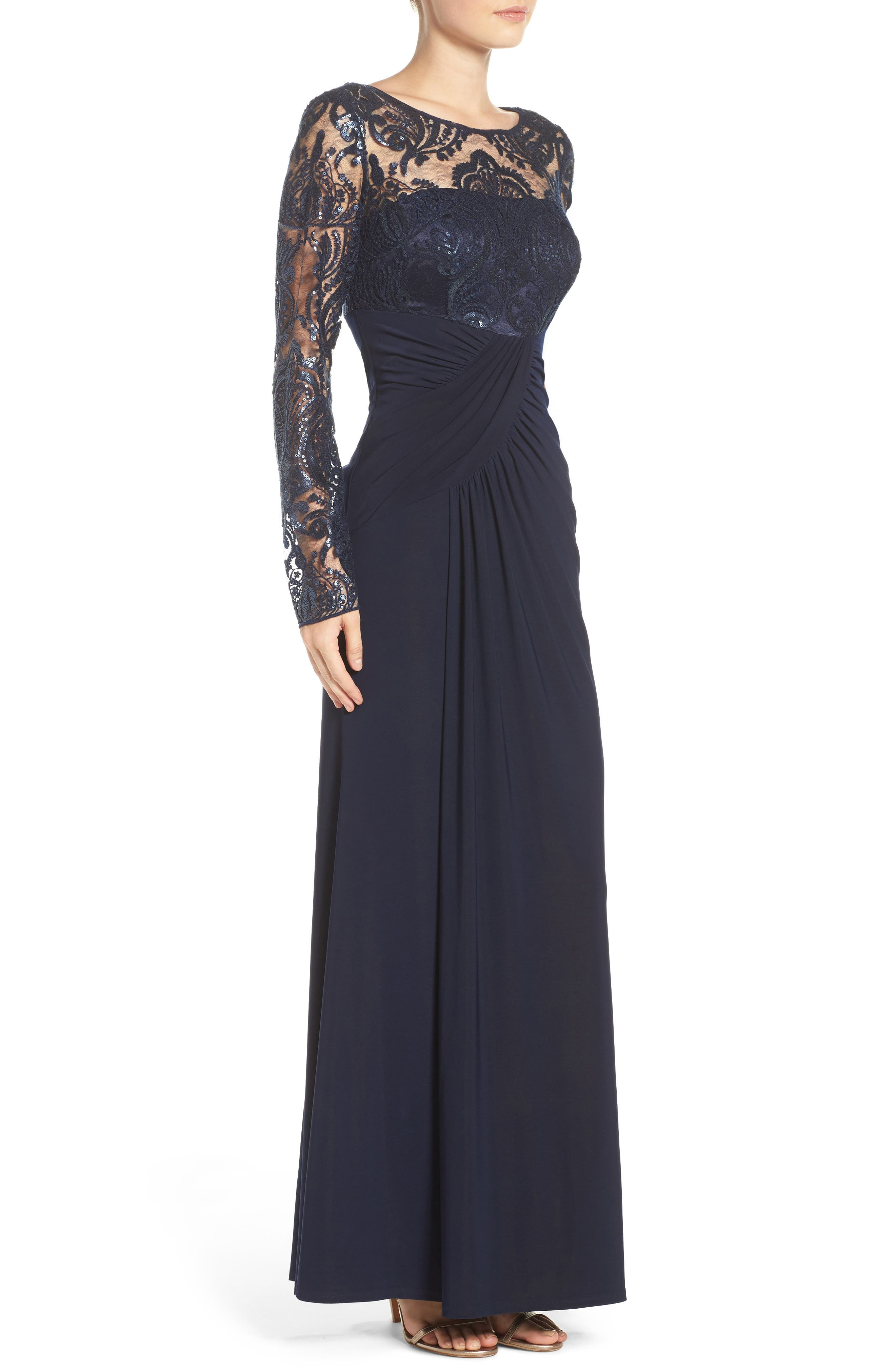 Draped Long Sleeve Gown,                             Alternate thumbnail 4, color,                             410
