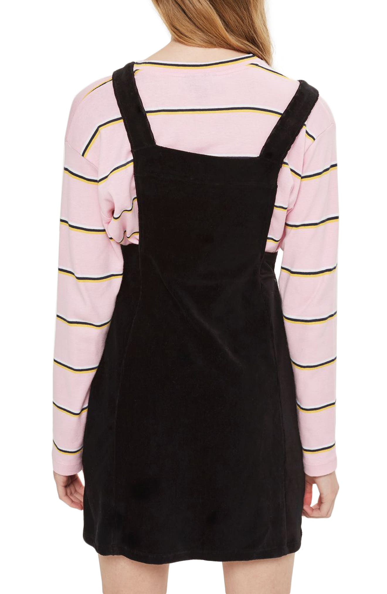 Corduroy Pinafore Dress,                             Alternate thumbnail 2, color,                             001