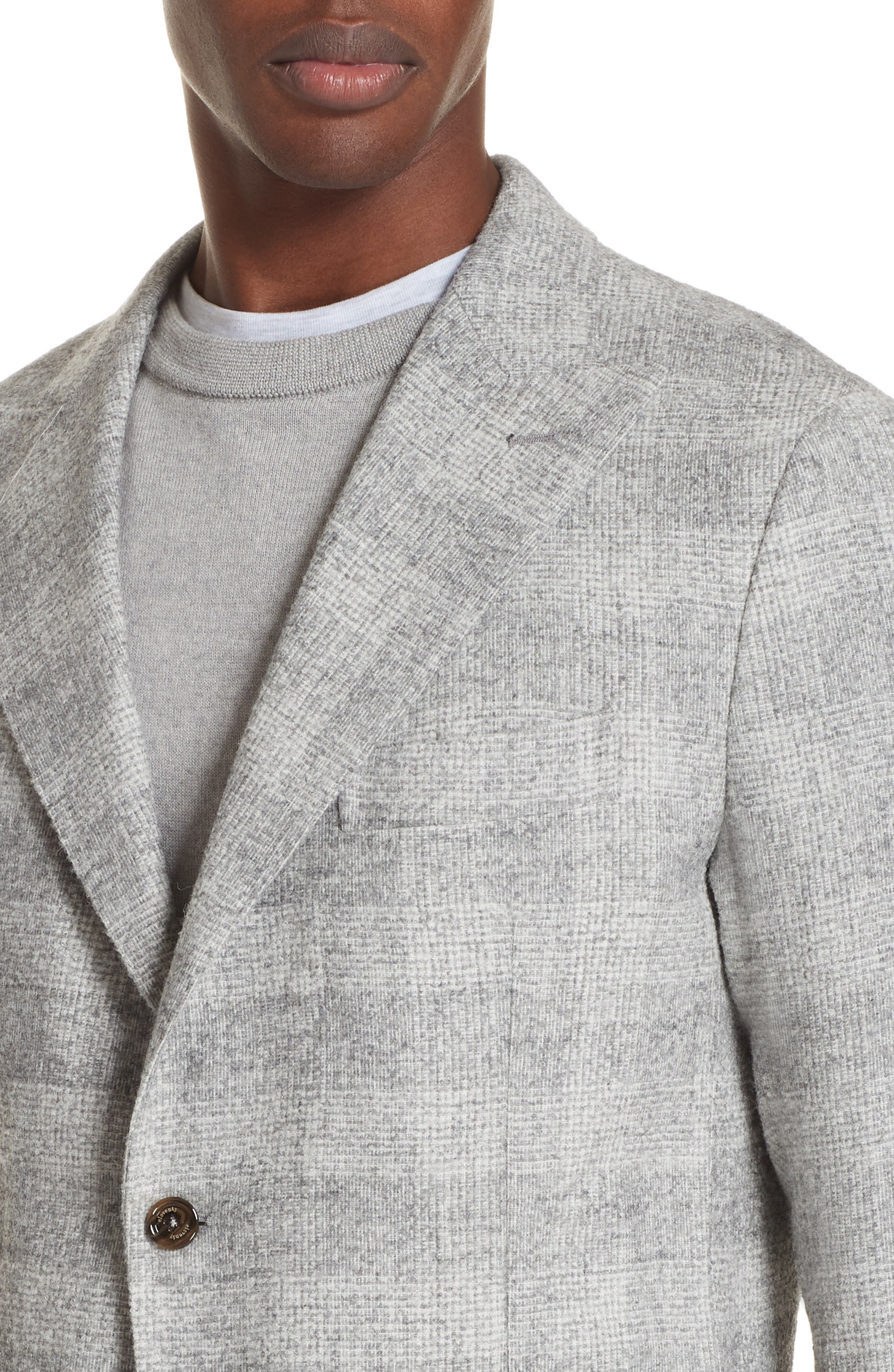Trim Fit Houndstooth Alpaca Wool Blend Sport Coat,                             Alternate thumbnail 4, color,                             GREY