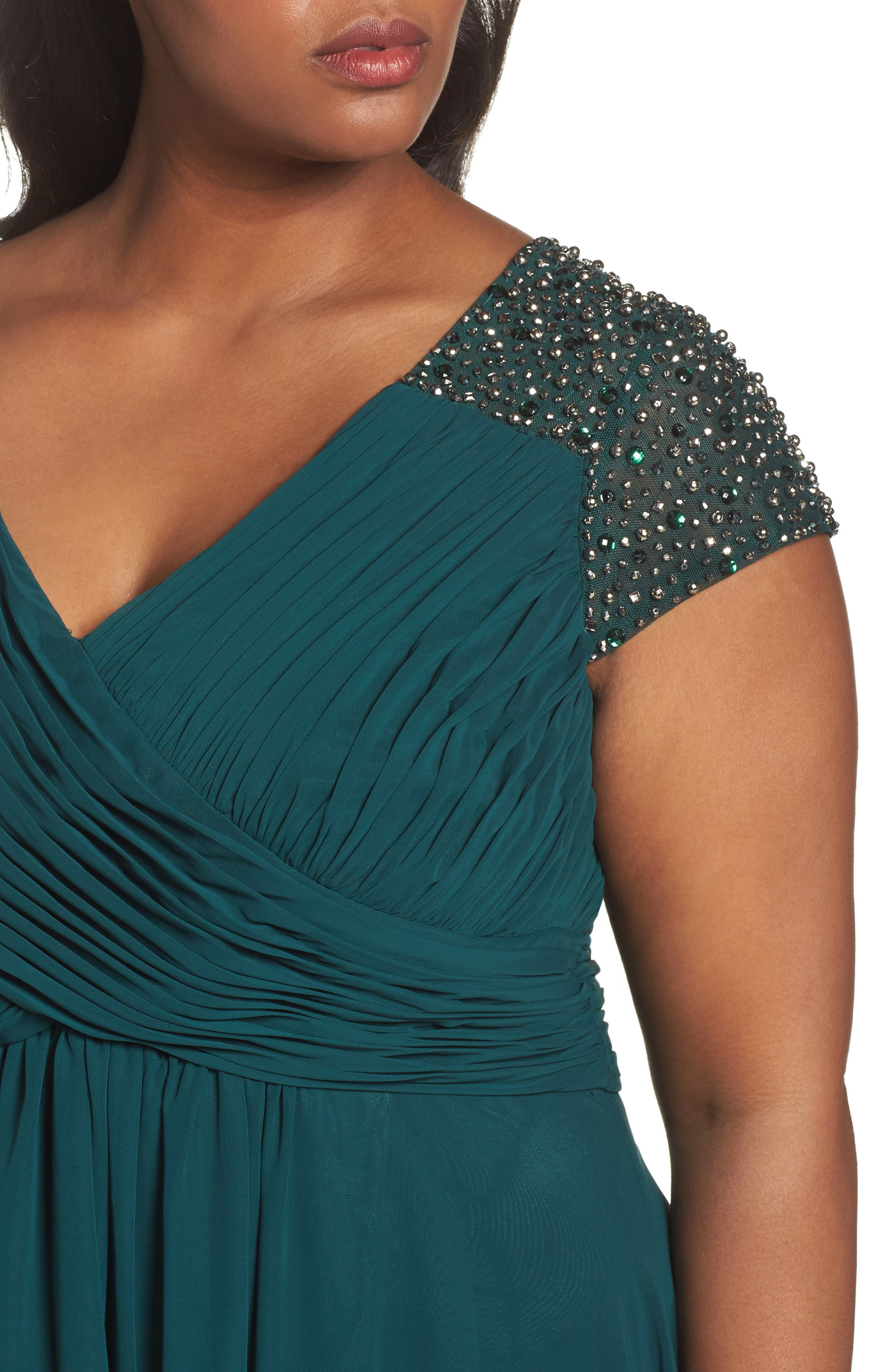 Embellished Pleated Chiffon Gown,                             Alternate thumbnail 4, color,                             311