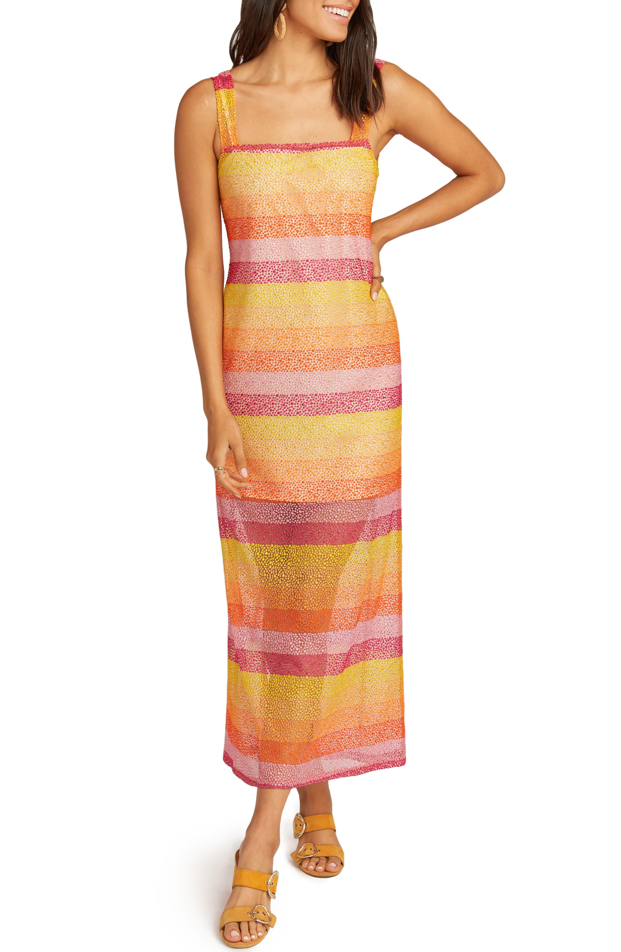Show Me Your Mumu Harlowe Velvet Burnout Stripe Maxi Dress, Yellow