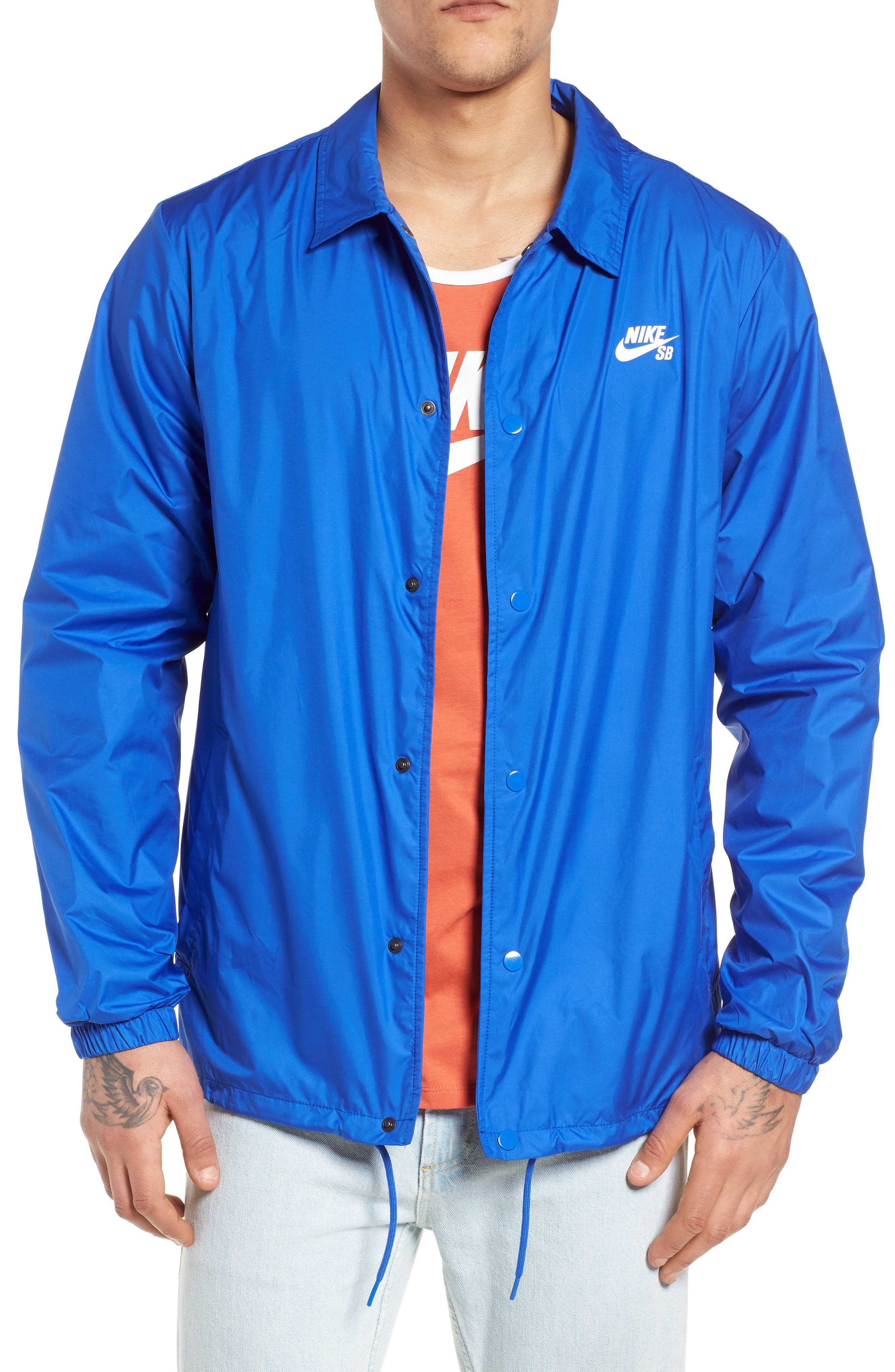 SB Shield Coach's Jacket,                         Main,                         color, HYPER ROYAL/ WHITE