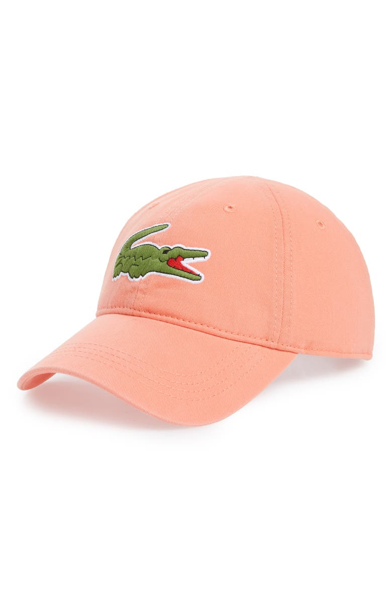 A soft cotton-twill hat with a signature embroidered crocodile is durable  enough to be an everyday cap. Style Name  Lacoste  Big Croc  Logo  Embroidered Cap. 33fef261f9c