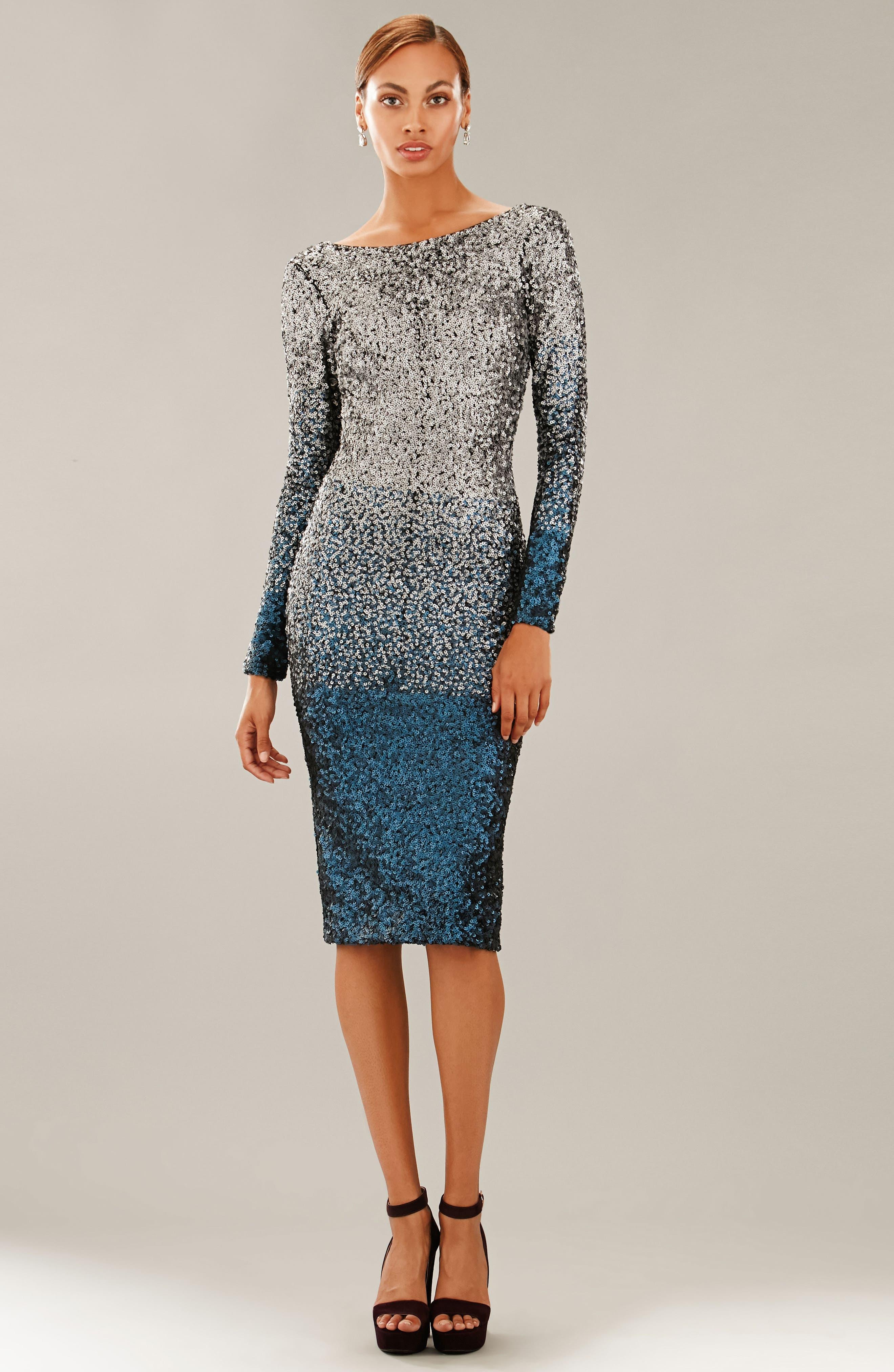 Emery Ombré Sequin Body-Con Dress,                             Alternate thumbnail 22, color,