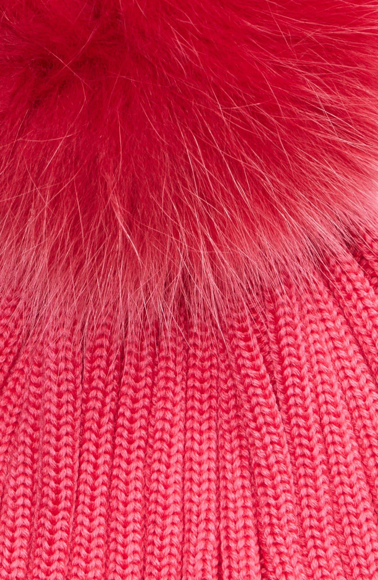 Genuine Fox Fur Pom Wool Beanie,                             Alternate thumbnail 2, color,                             FUSCHIA