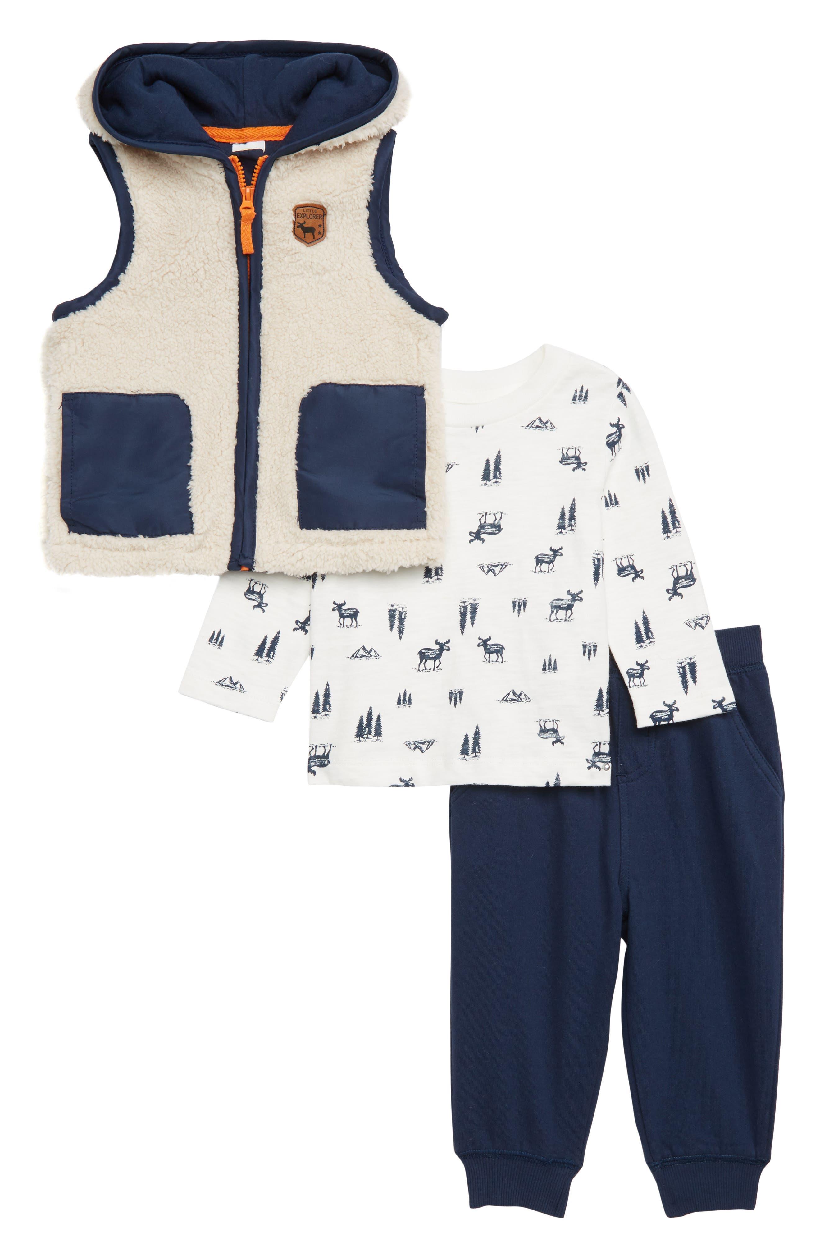 Infant Boys Little Me Hooded Vest TShirt  Sweatpants Set