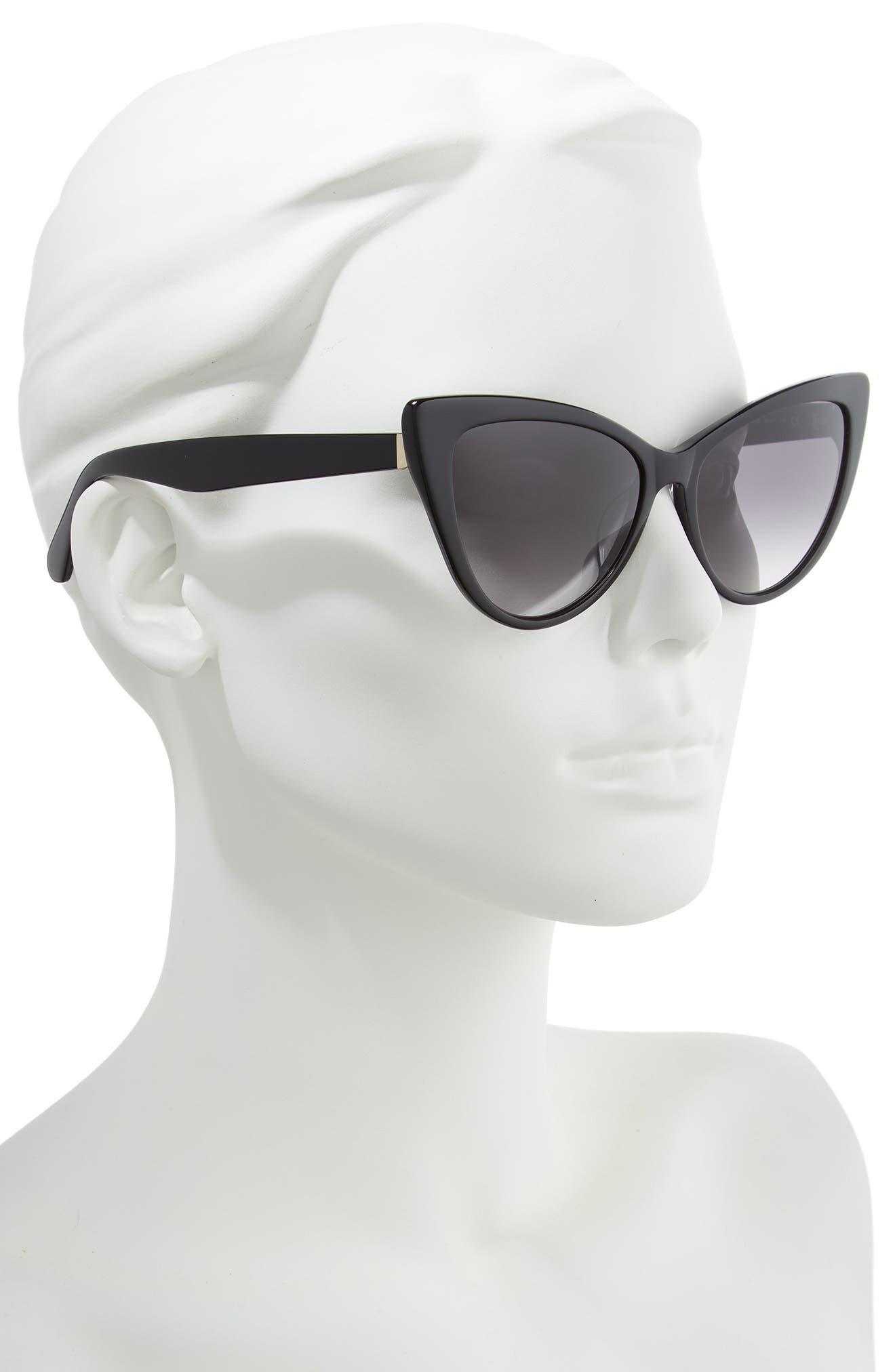 karina 56mm cat eye sunglasses,                             Alternate thumbnail 2, color,                             BLACK