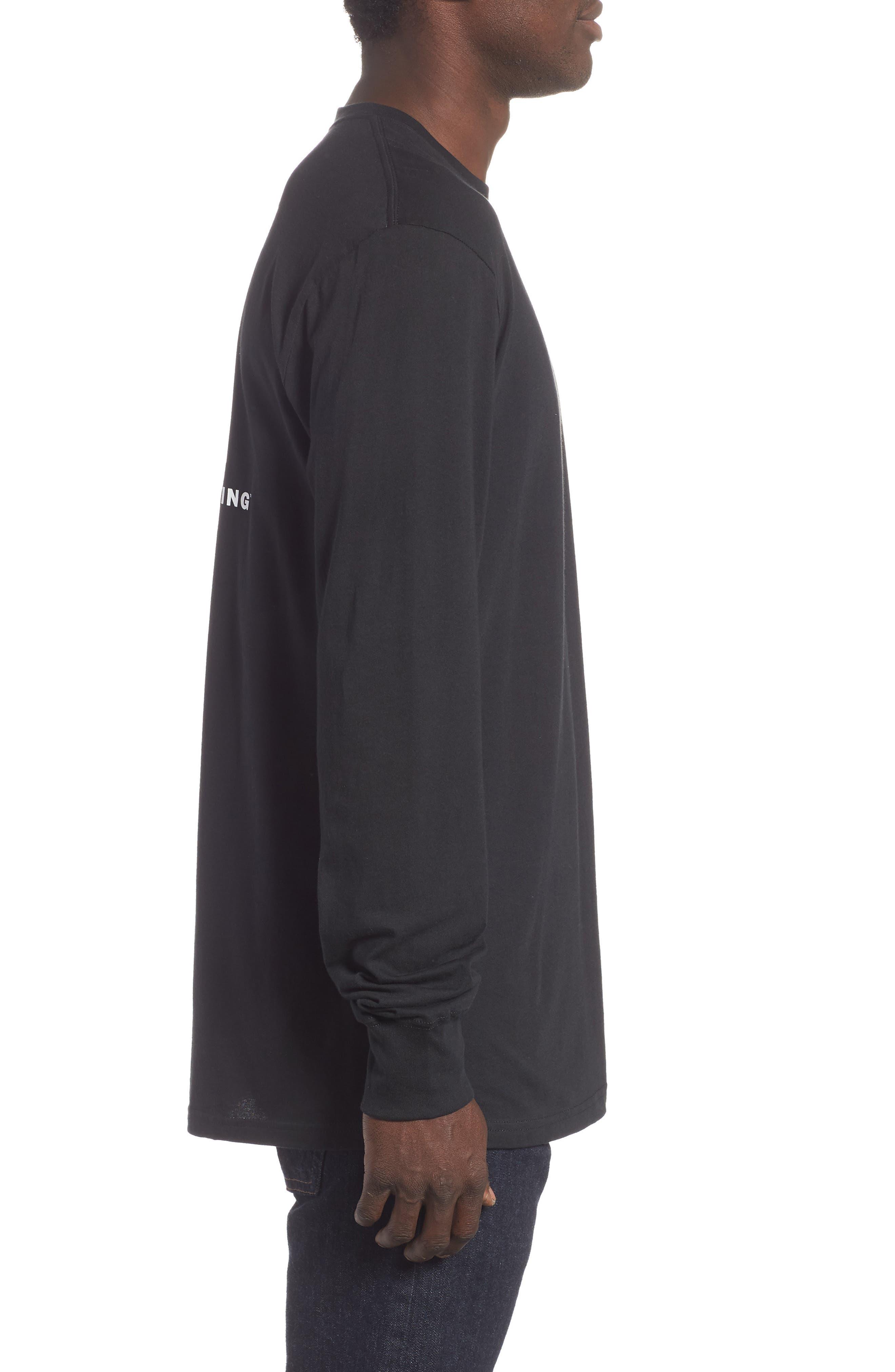 Red Box Long Sleeve T-Shirt,                             Alternate thumbnail 3, color,                             TNF BLACK/ TNF WHITE