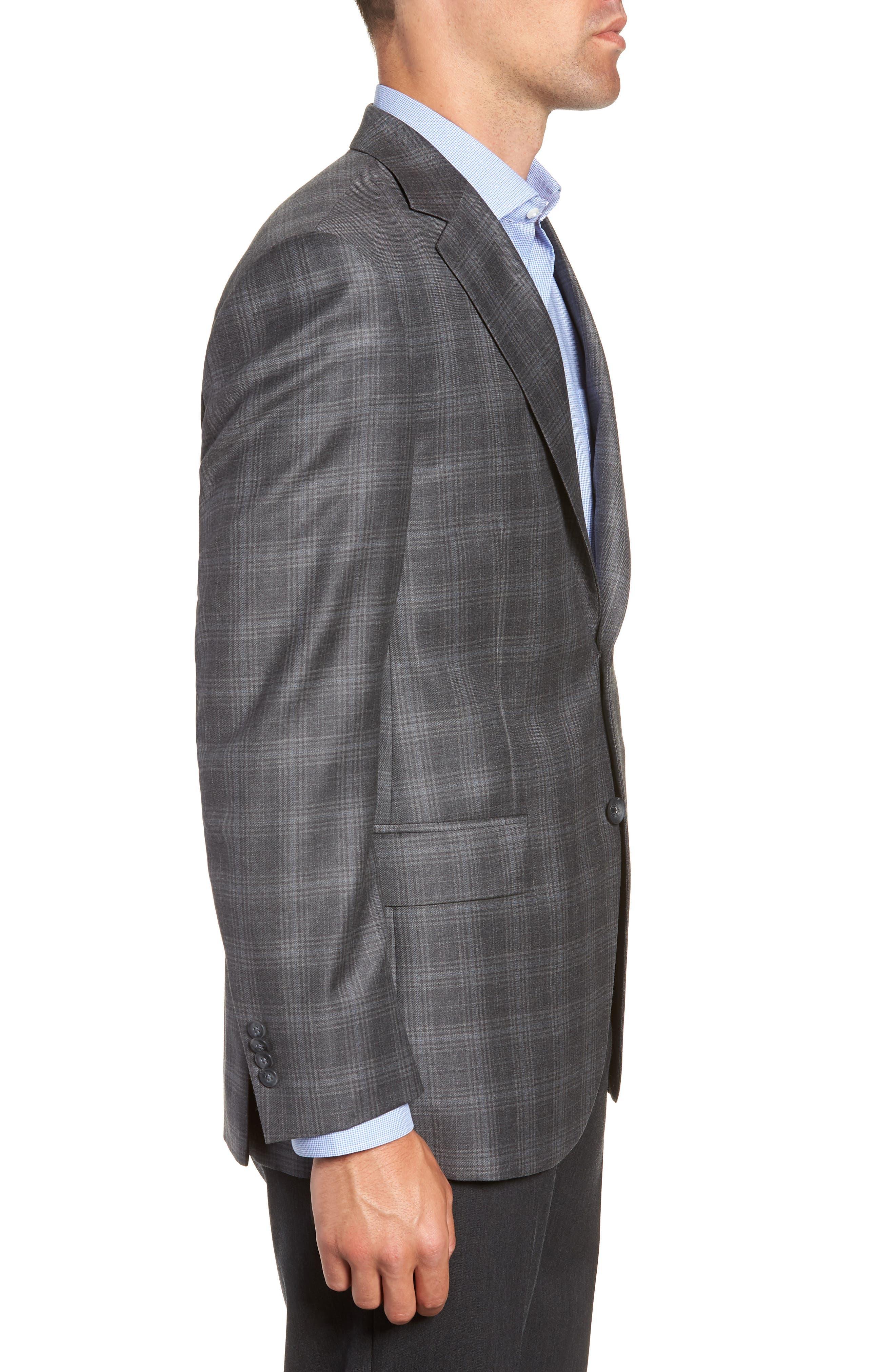 Flynn Classic Fit Plaid Wool Sport Coat,                             Alternate thumbnail 3, color,                             GREY