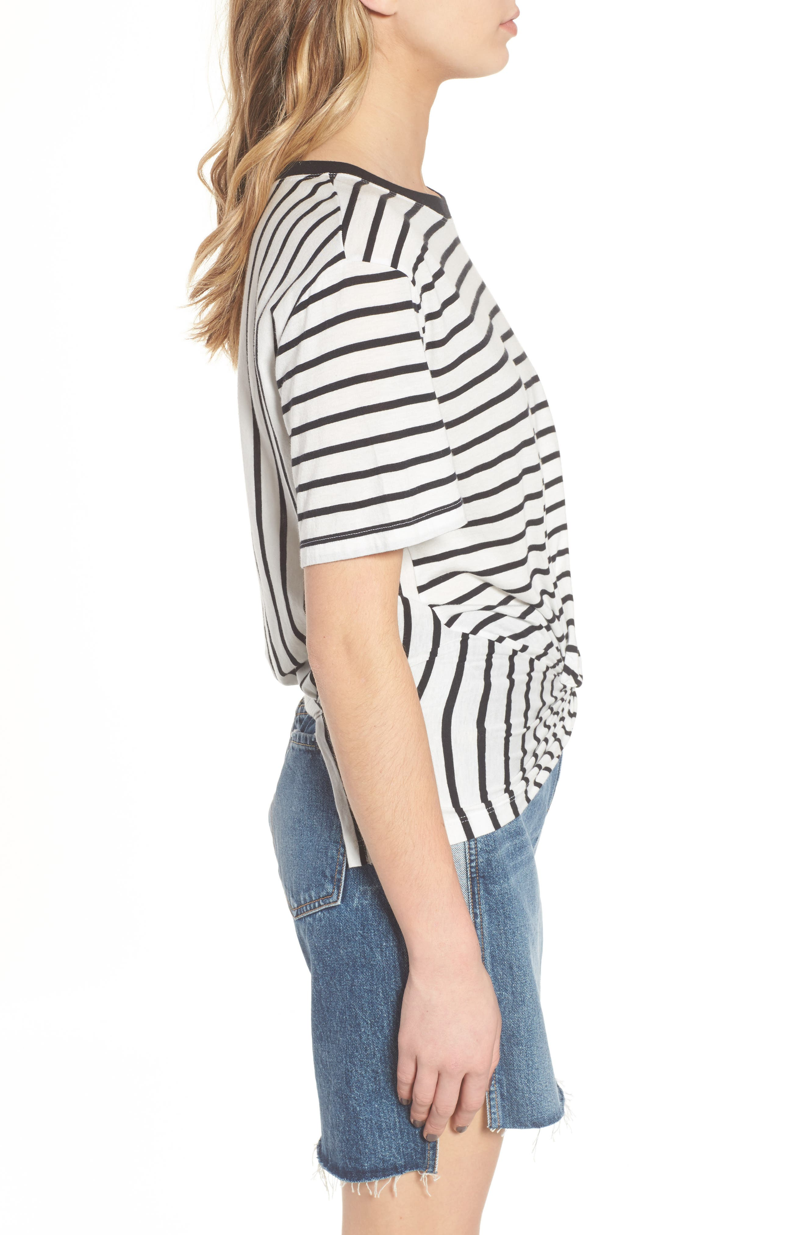 Stripe Knotted Tee,                             Alternate thumbnail 3, color,                             005