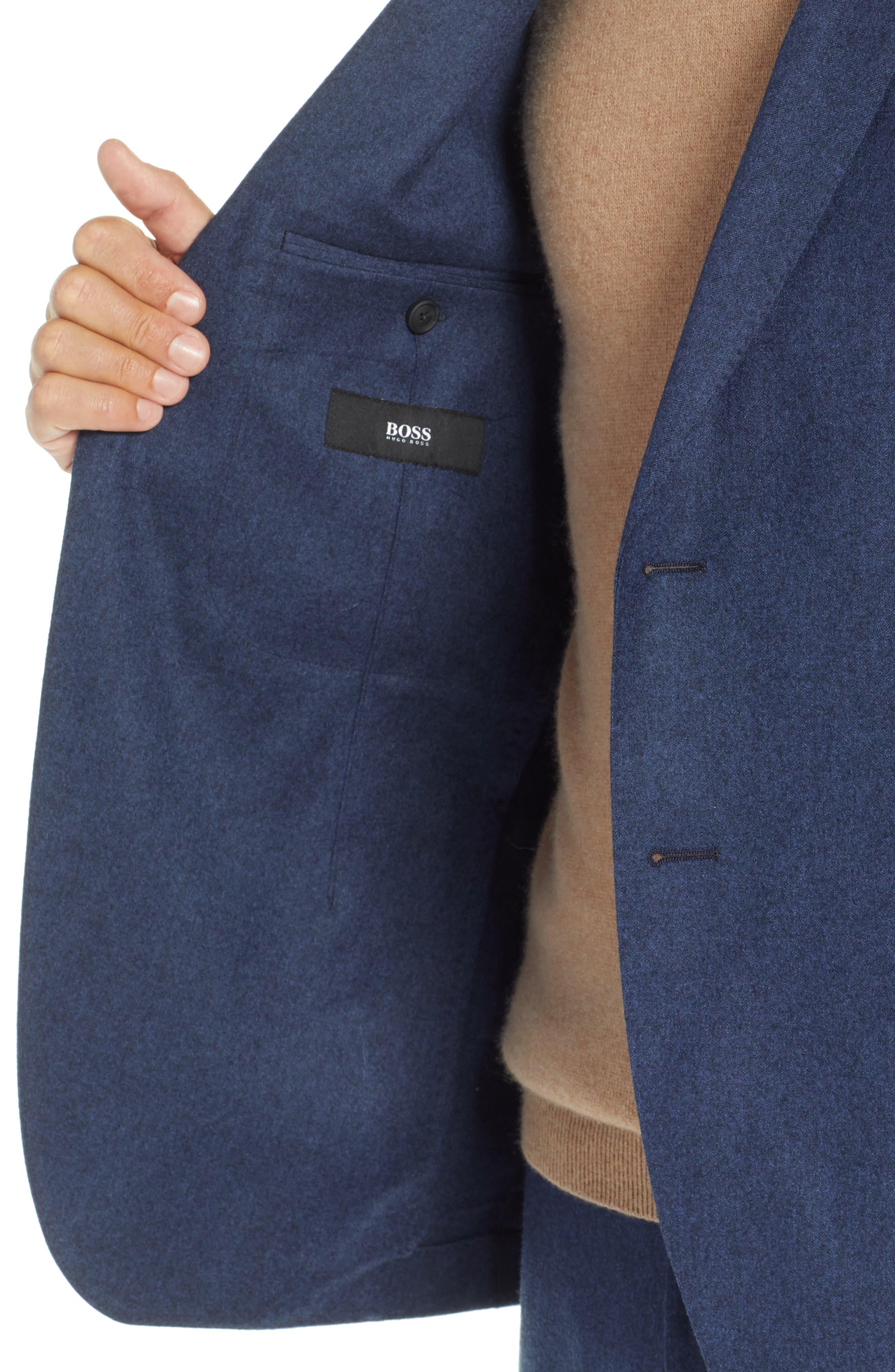 Hooper Trim Fit Wool Blazer,                             Alternate thumbnail 4, color,                             DARK BLUE
