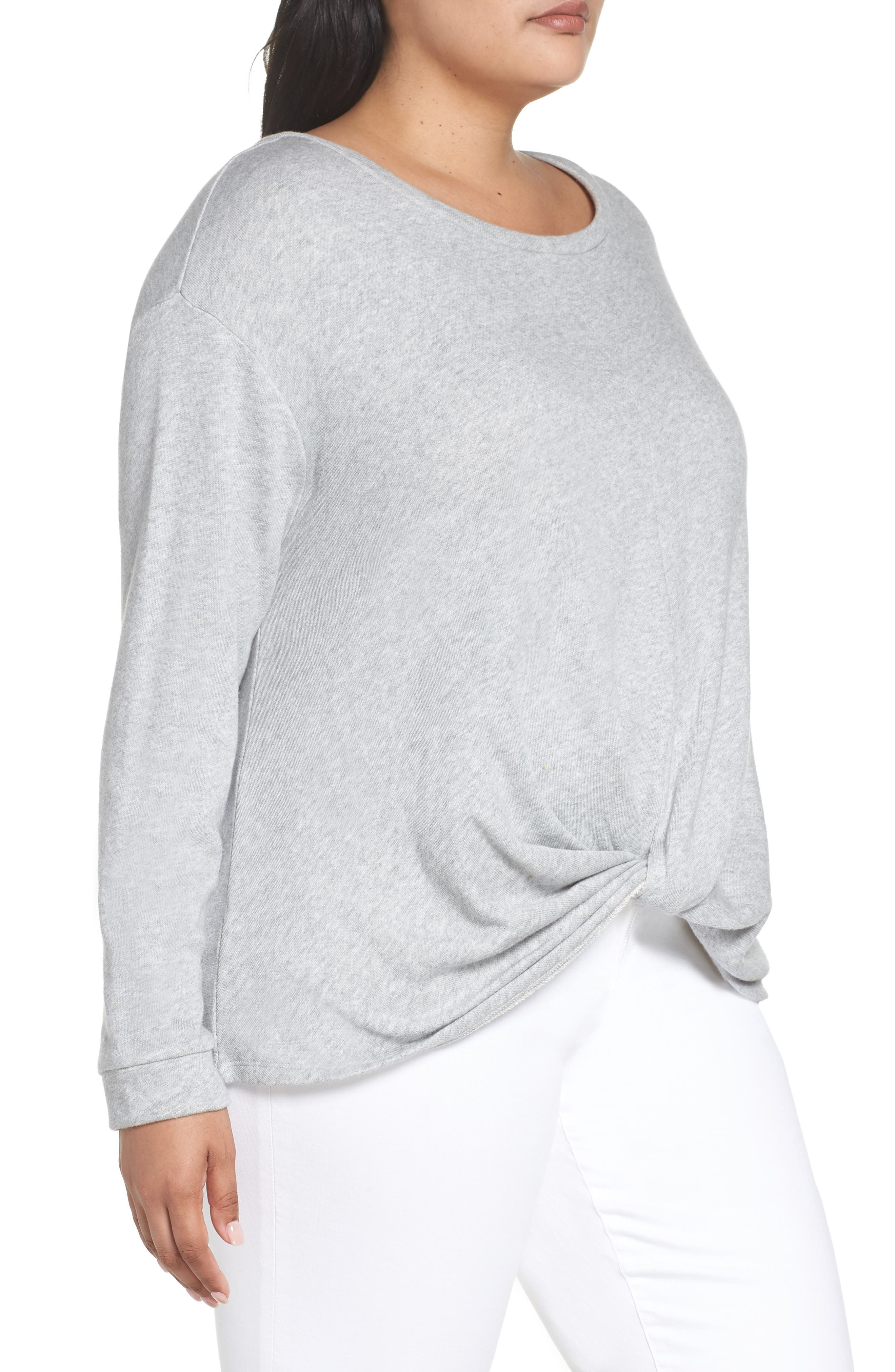 Twist Front Sweatshirt,                             Alternate thumbnail 3, color,                             GREY HEATHER