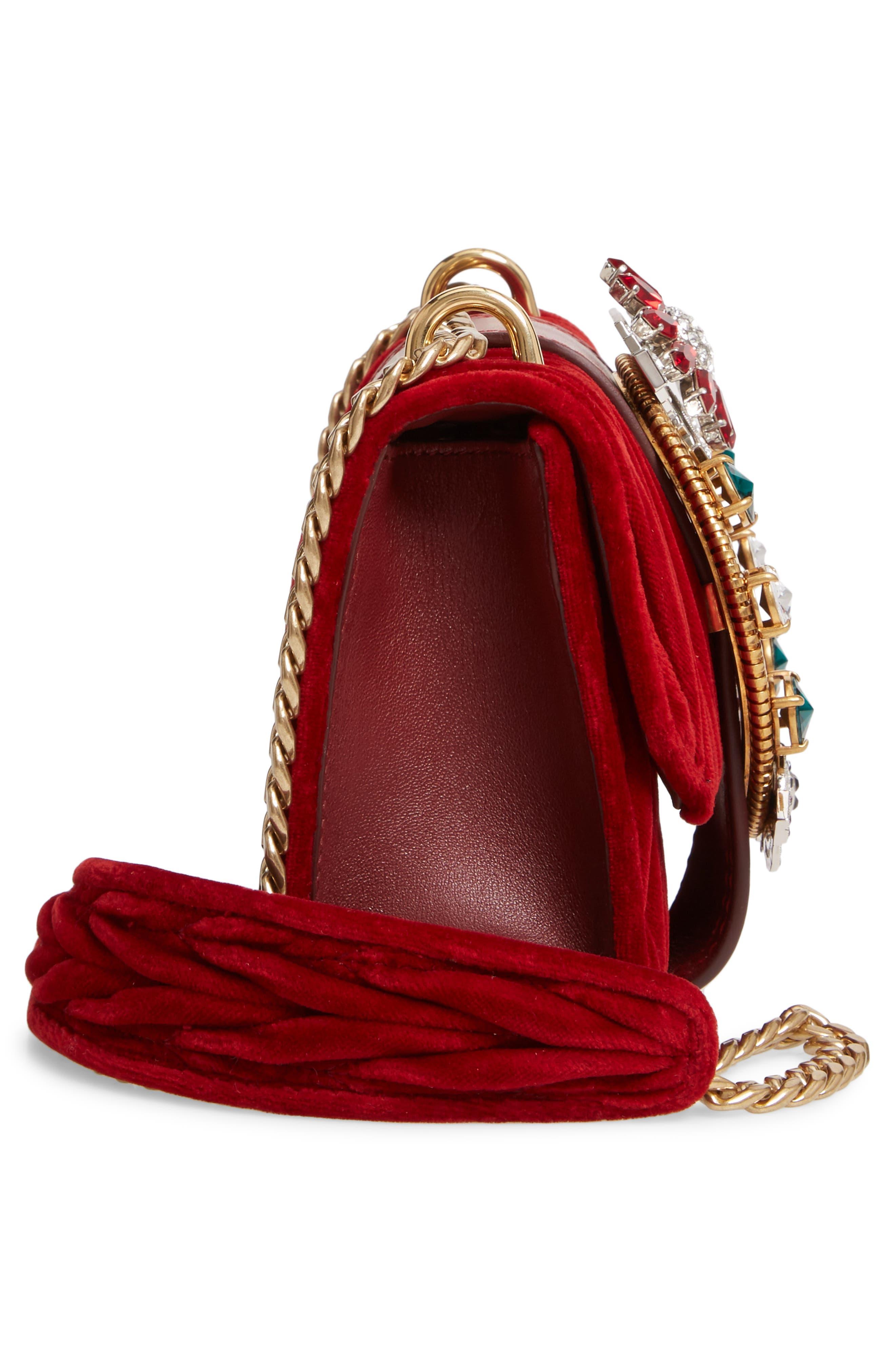 Matelassé Velvet Crossbody Bag,                             Alternate thumbnail 6, color,                             CERISE