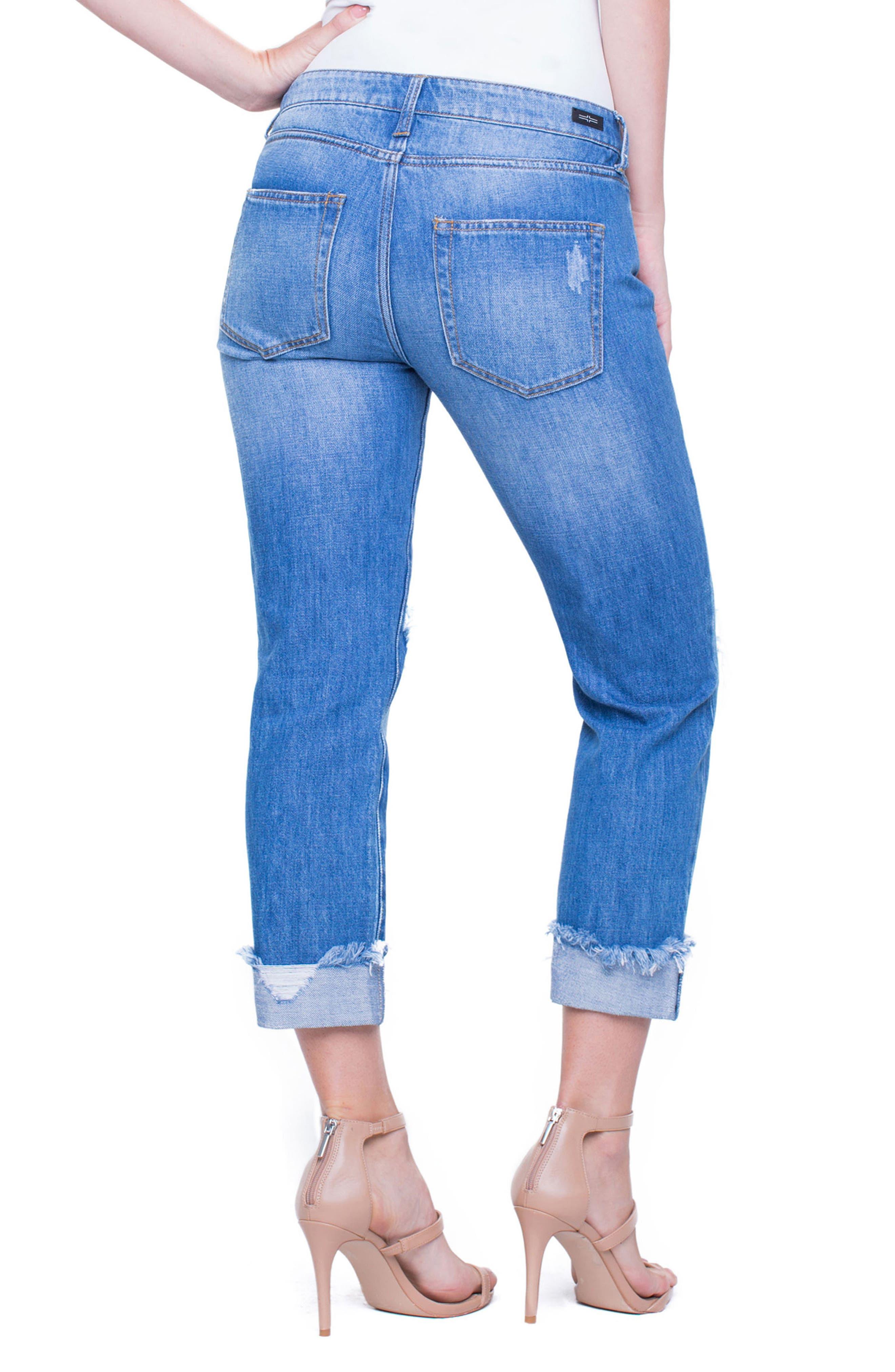 Jeans Company Kennedy Distressed Raw Hem Crop Boyfriend Jeans,                             Alternate thumbnail 2, color,                             402