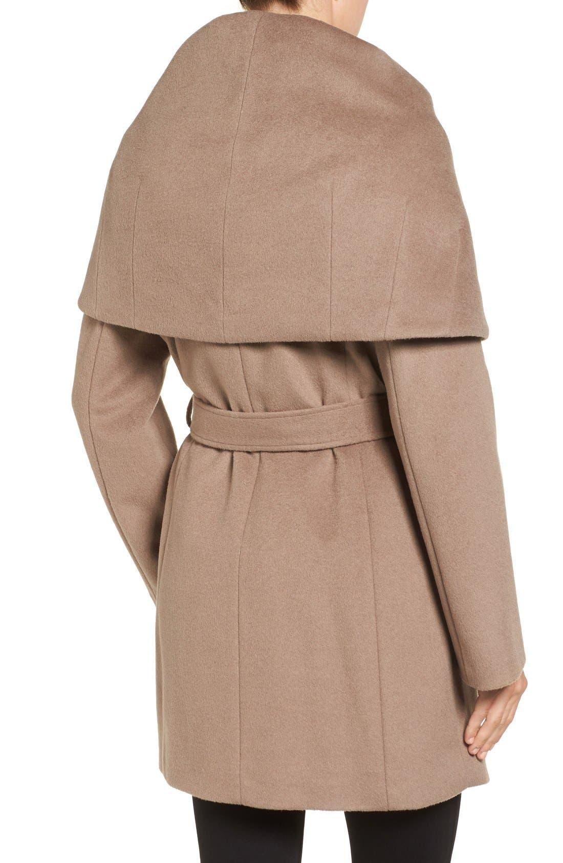T Tahari Wool Blend Belted Wrap Coat,                             Alternate thumbnail 34, color,
