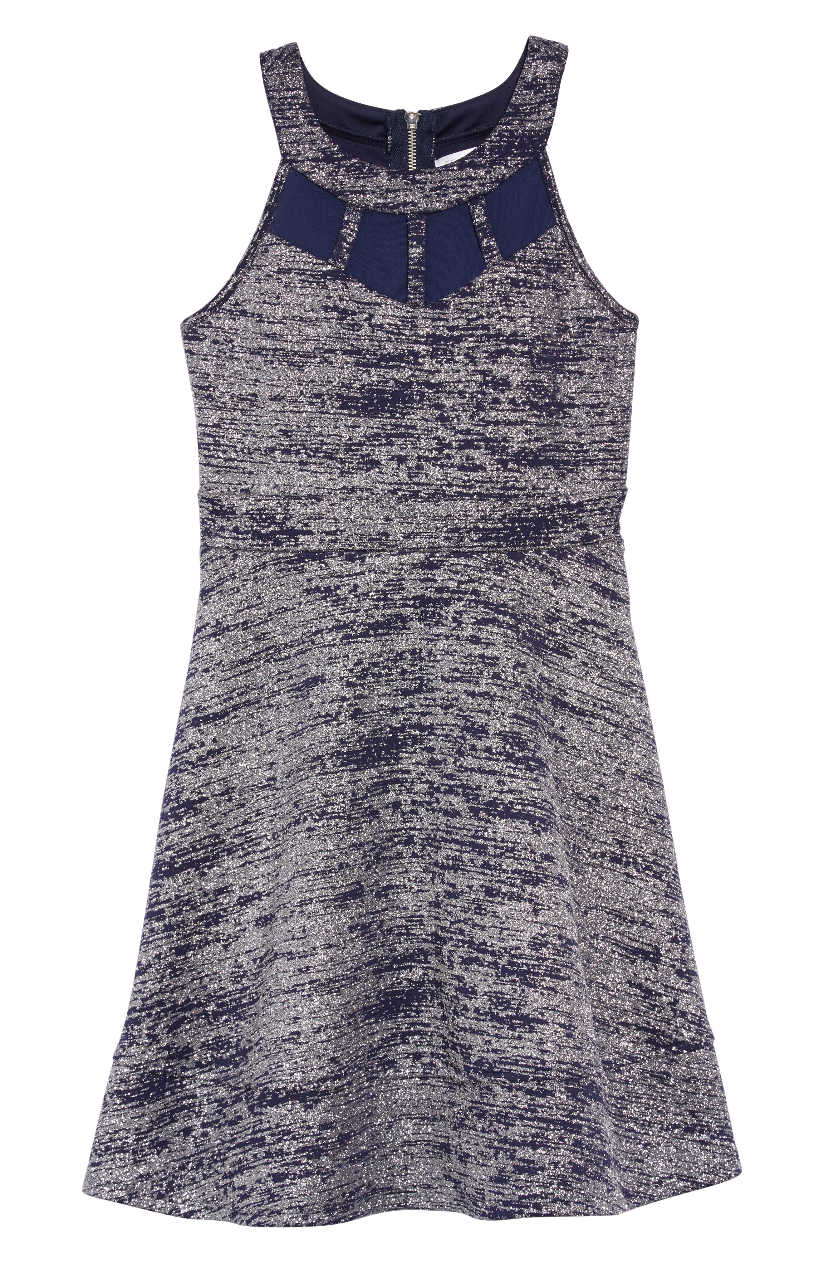 Glitter Illusion Neck Scuba Dress,                             Main thumbnail 1, color,                             NAVY/ SILVER