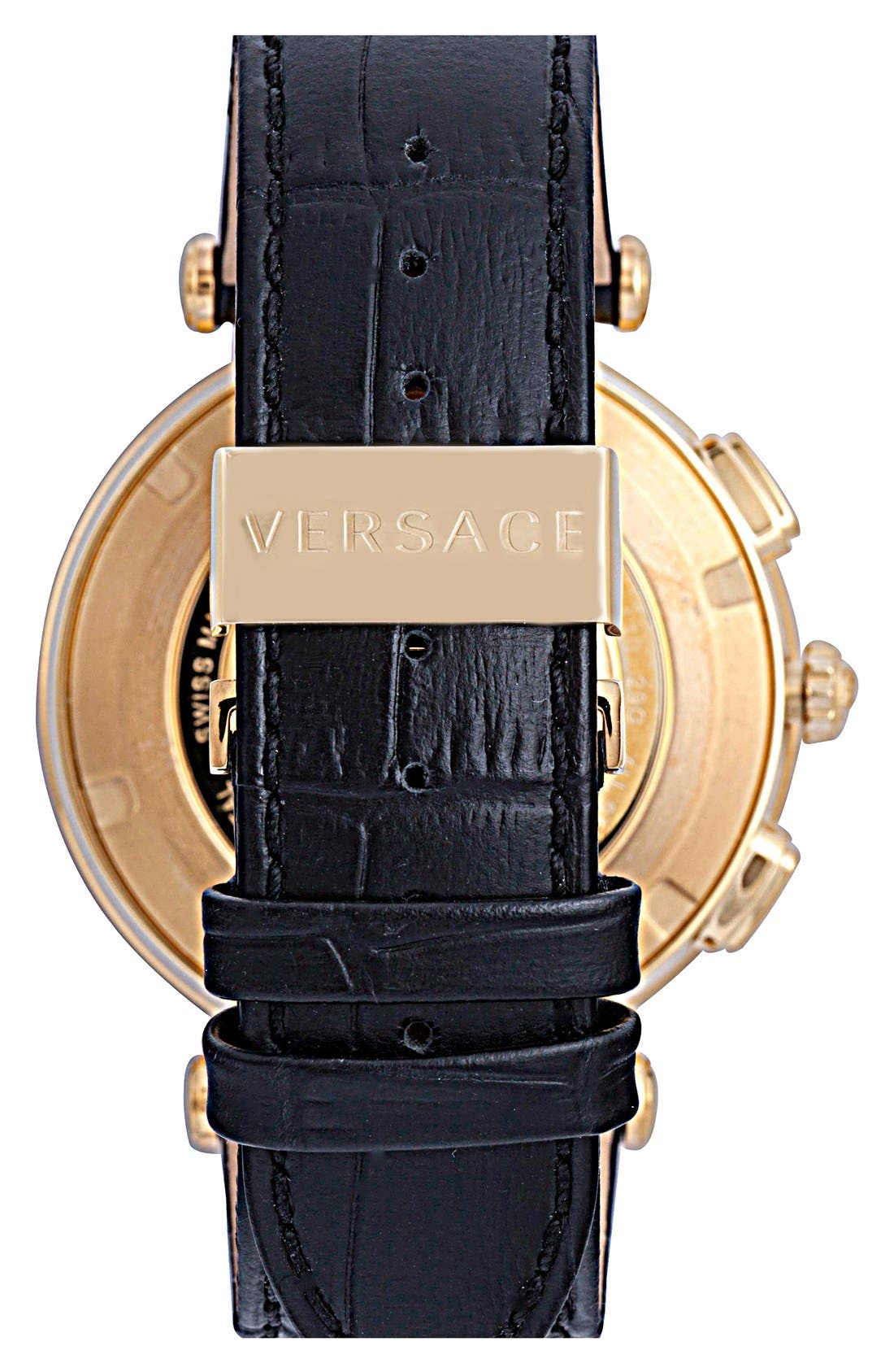 'V-Race GMT' Leather Strap Watch, 46mm,                             Alternate thumbnail 3, color,                             001