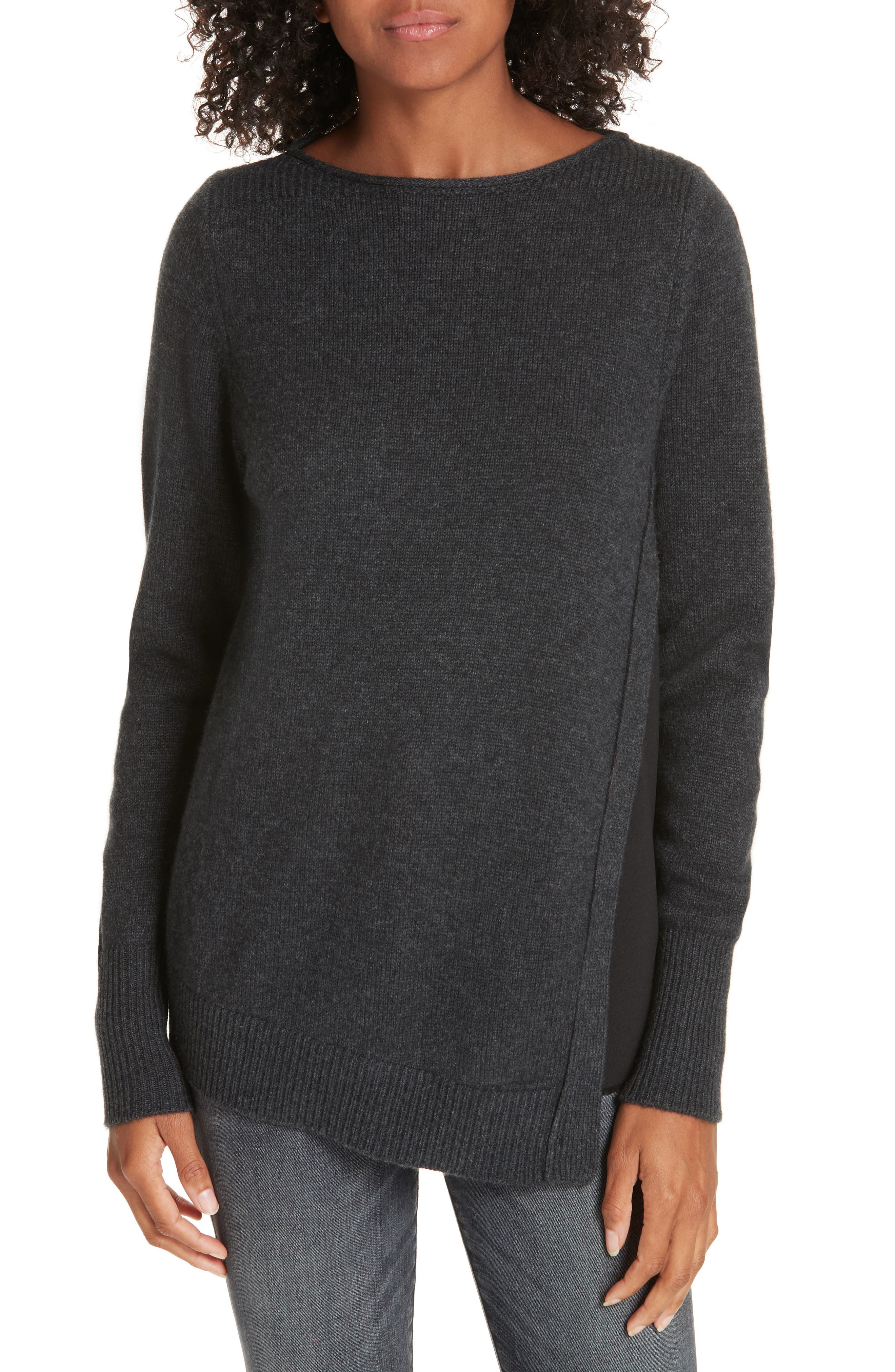 BROCHU WALKER Wool & Cashmere Layered Sweater in Greystone With Black