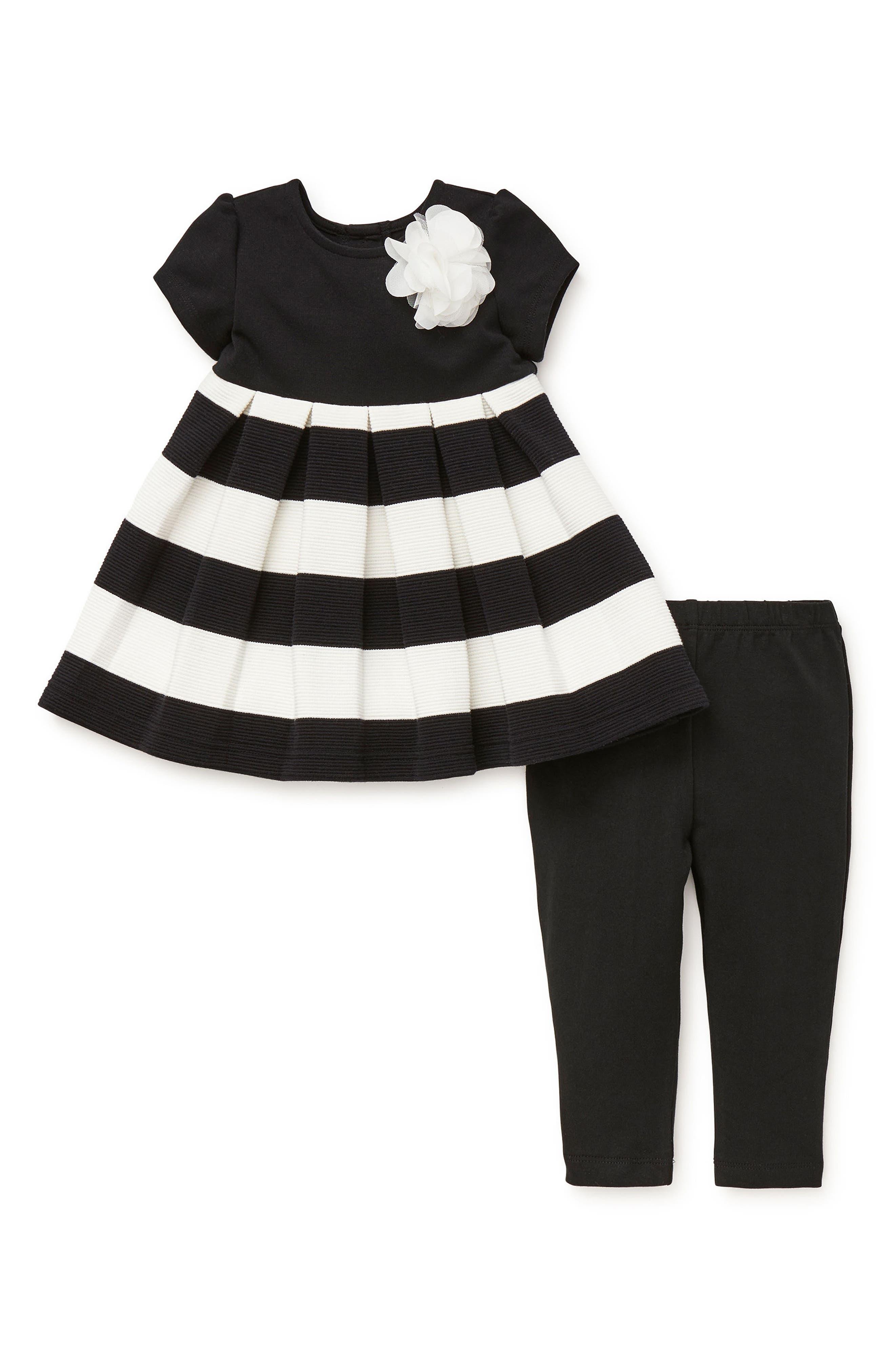 Stripe Dress & Leggings Set,                             Alternate thumbnail 2, color,                             001