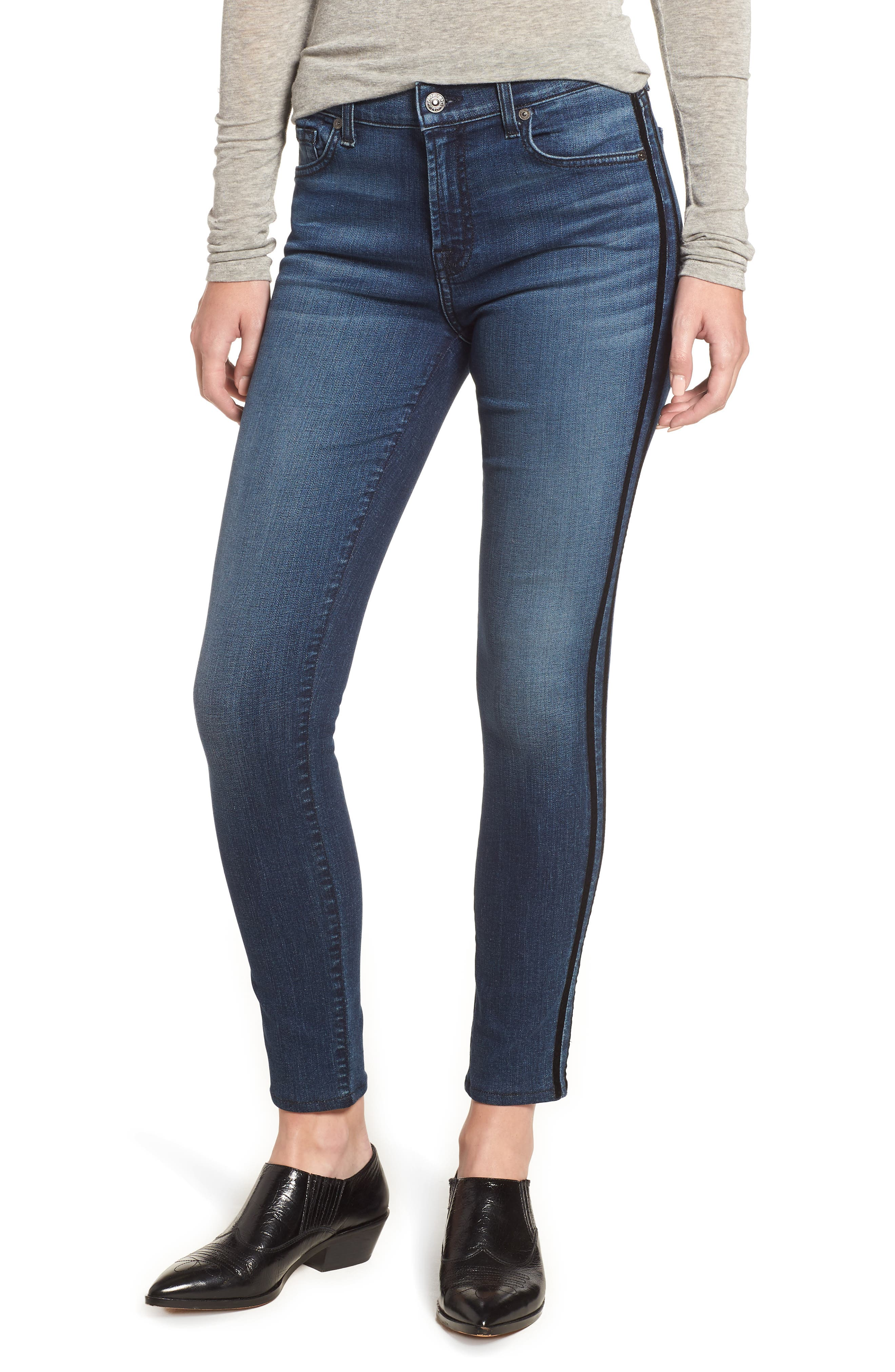 Ankle Skinny Double Stripes Jeans,                             Main thumbnail 1, color,                             400