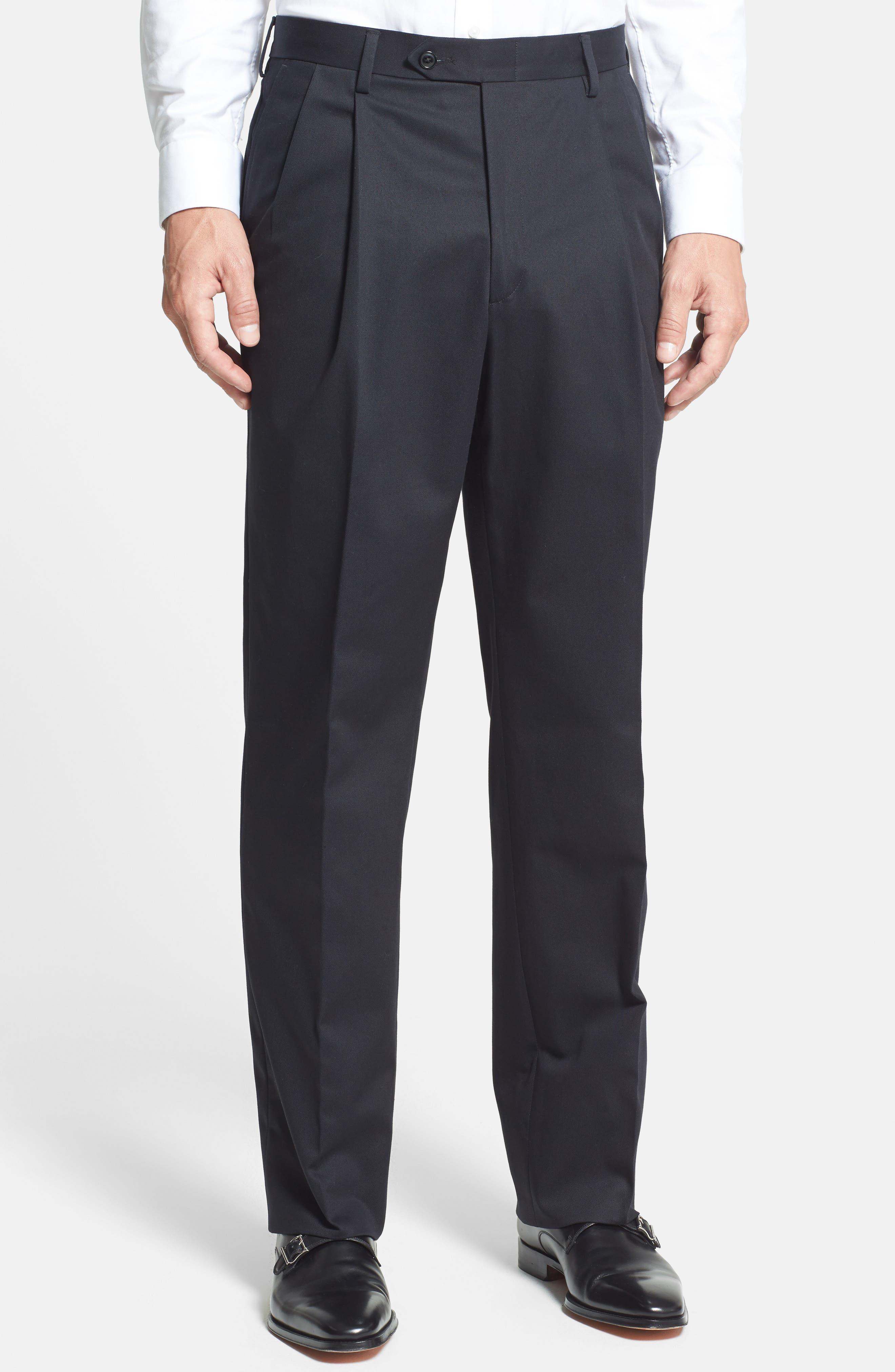 Pleated Cotton Trousers,                             Alternate thumbnail 2, color,                             BLACK
