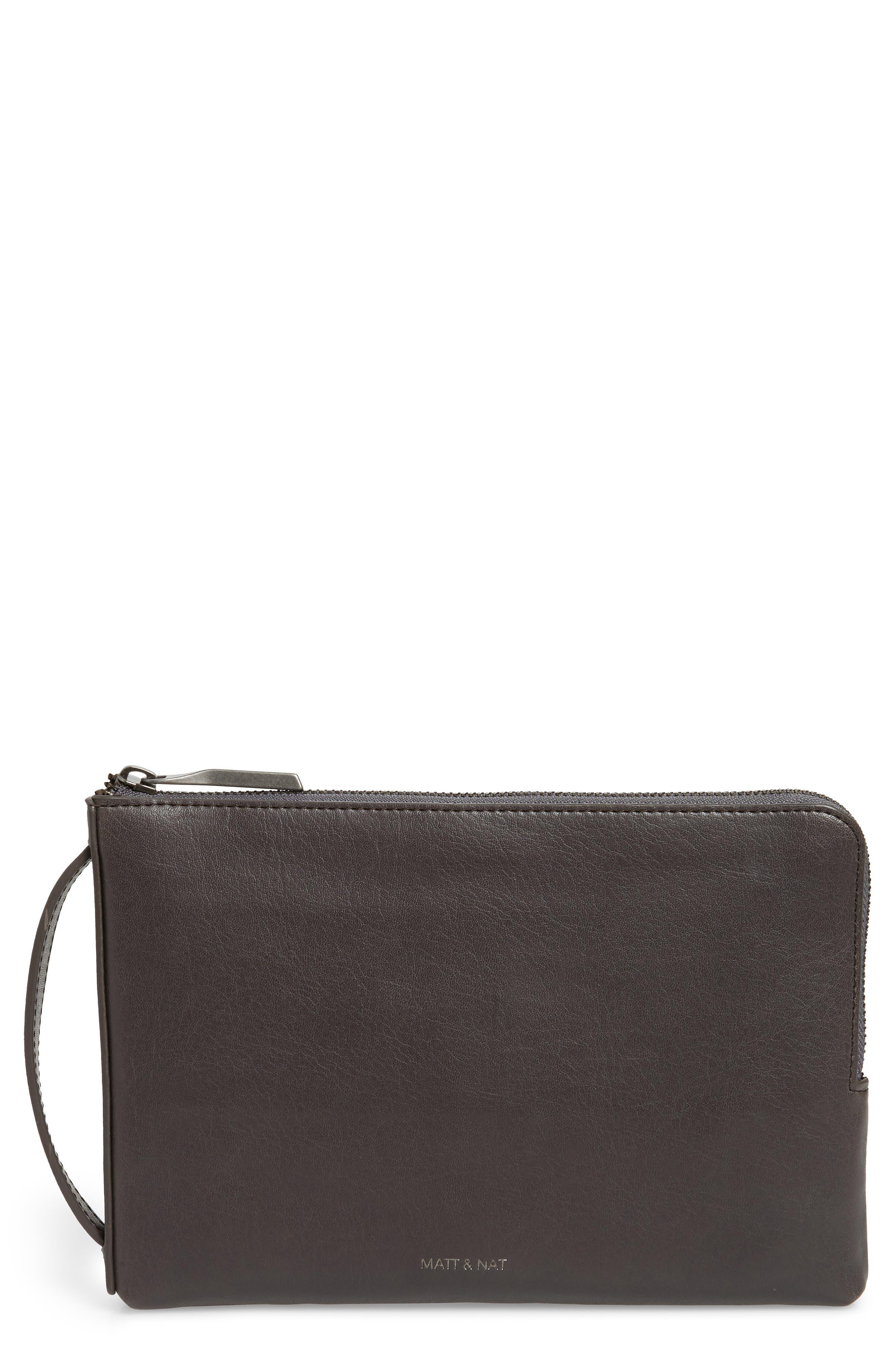 Matt & Nat Large Seva Faux Leather Pouch Wallet - Grey